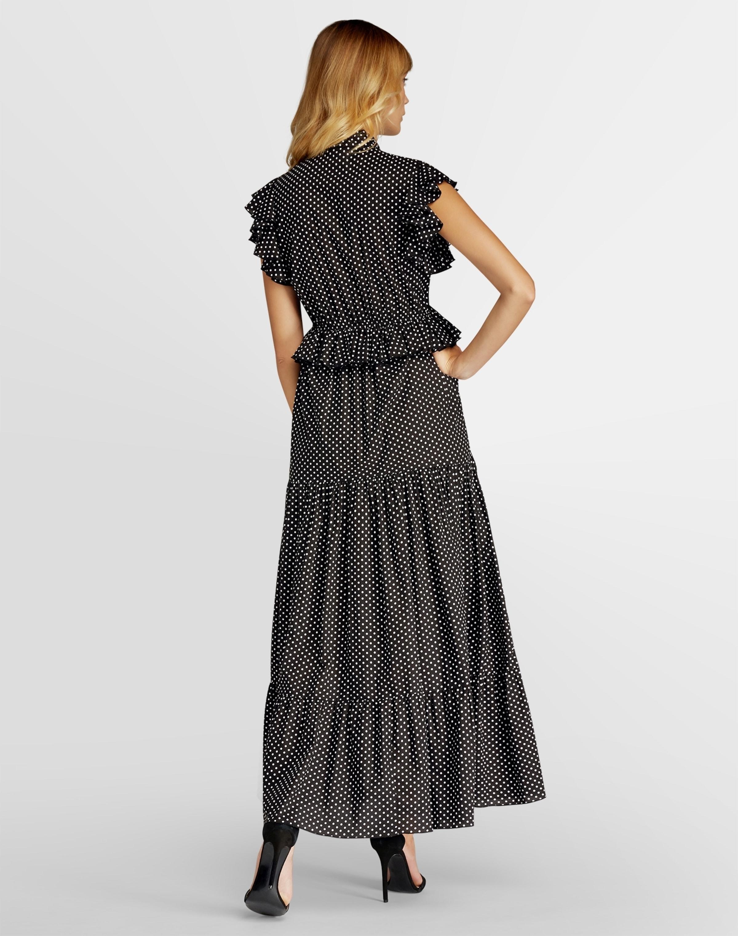 In CremeSchwarz Apart Volants Tupfenprint Kleid Mit Und LSpqzMVUG