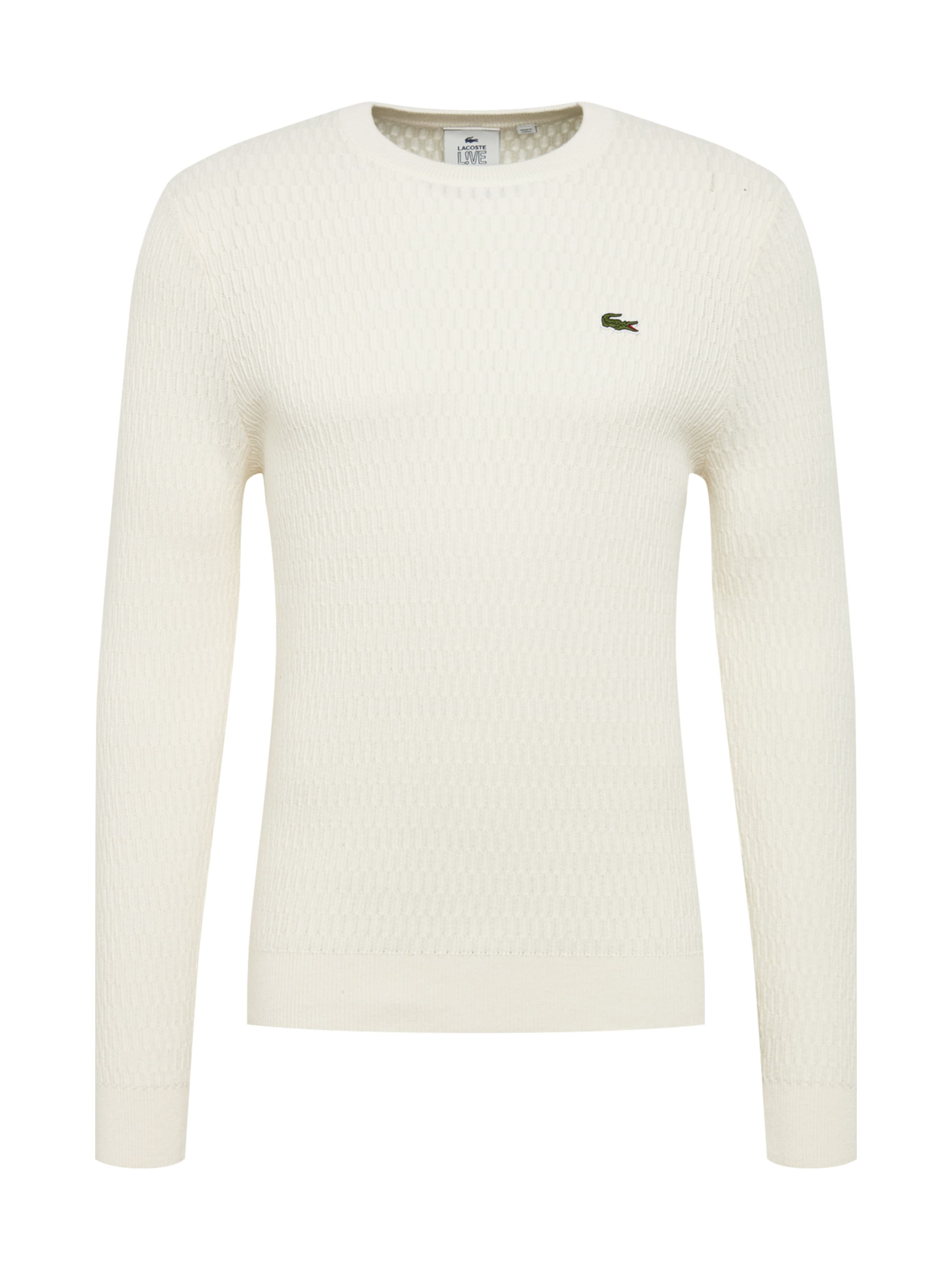 Pull 'tricot' Lacoste over En Blanc Live Cassé 8Nymnwv0O