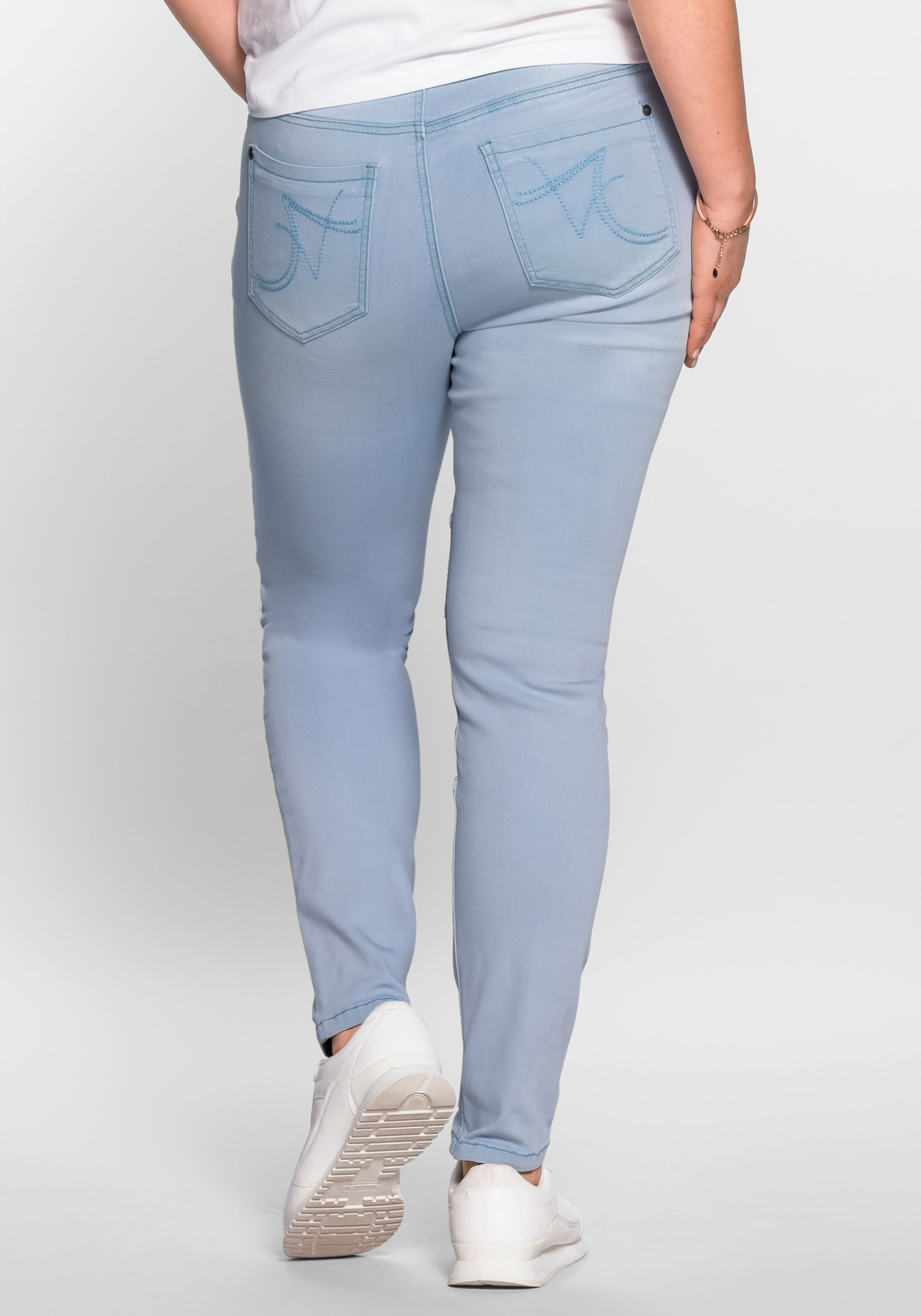 Blue 'die Denim In Stretchjeans Biker' Sheego qSVpUMz