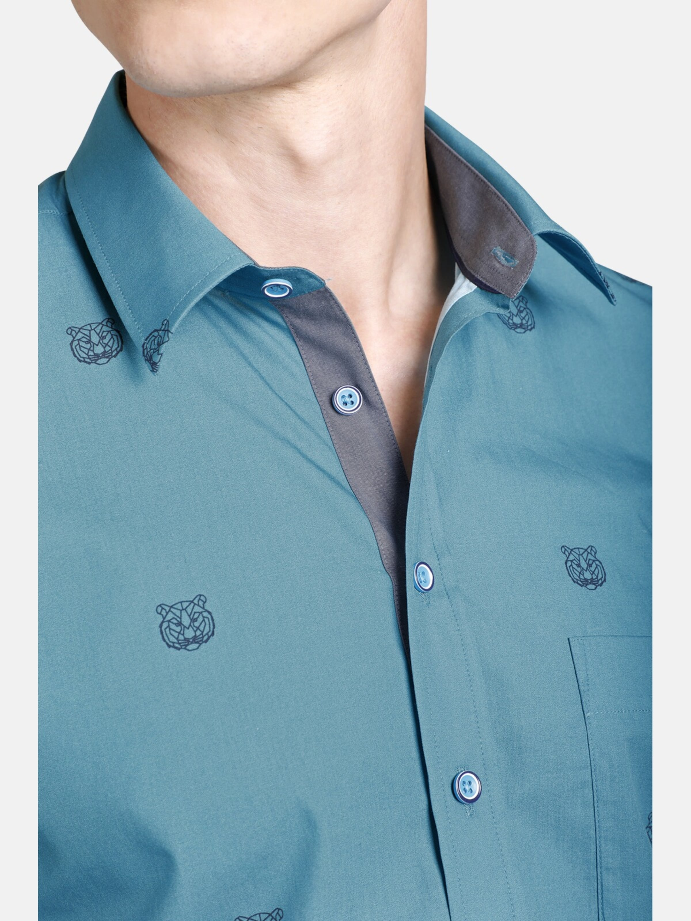 Hemd Tigerhead Shirtmaster ' In Blau OZPikXuT
