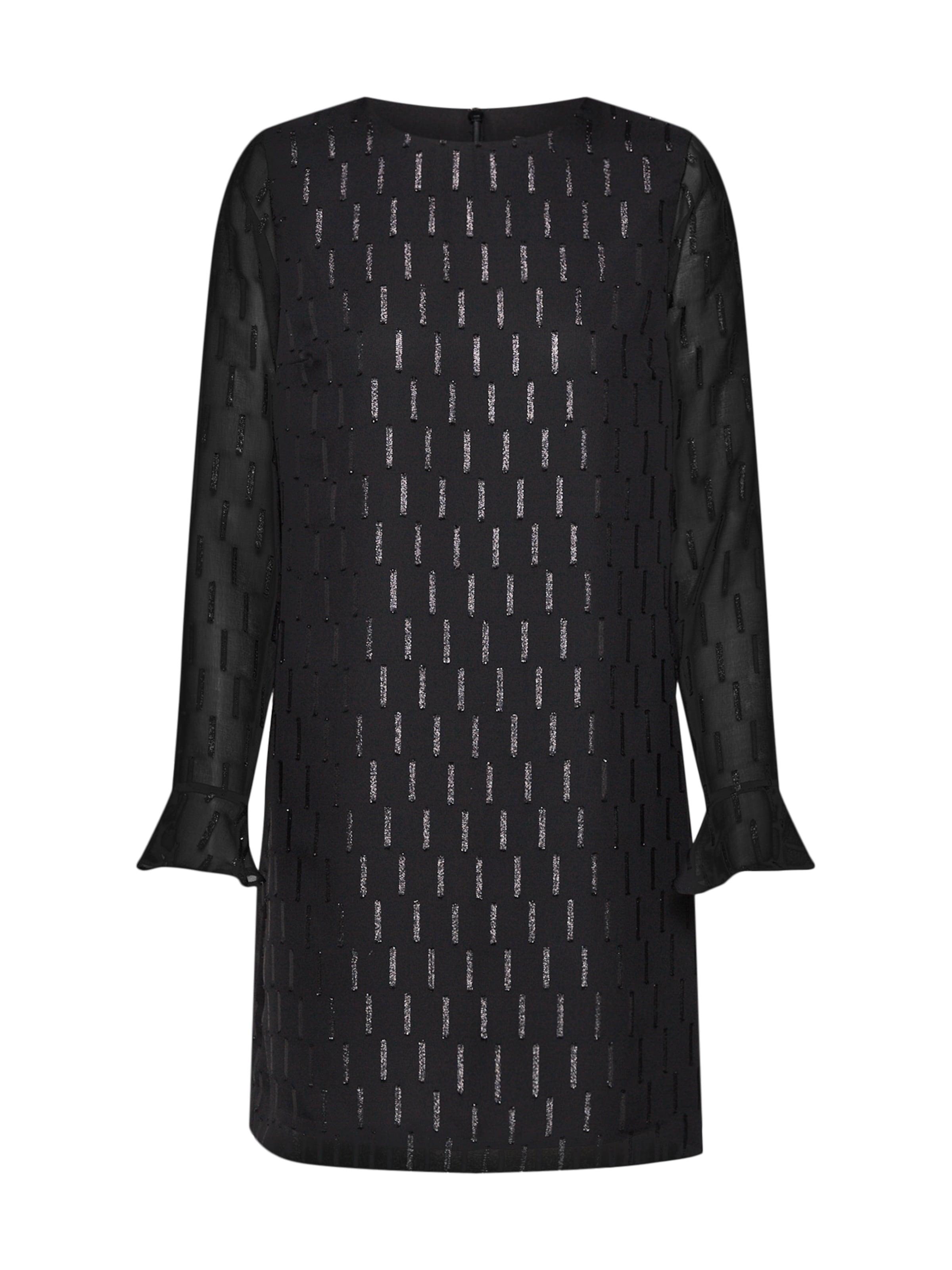 Cuff 'ls Noir Banana Republic Shine En Ruffle Fabric' Robe Shift 4AjqRc5L3