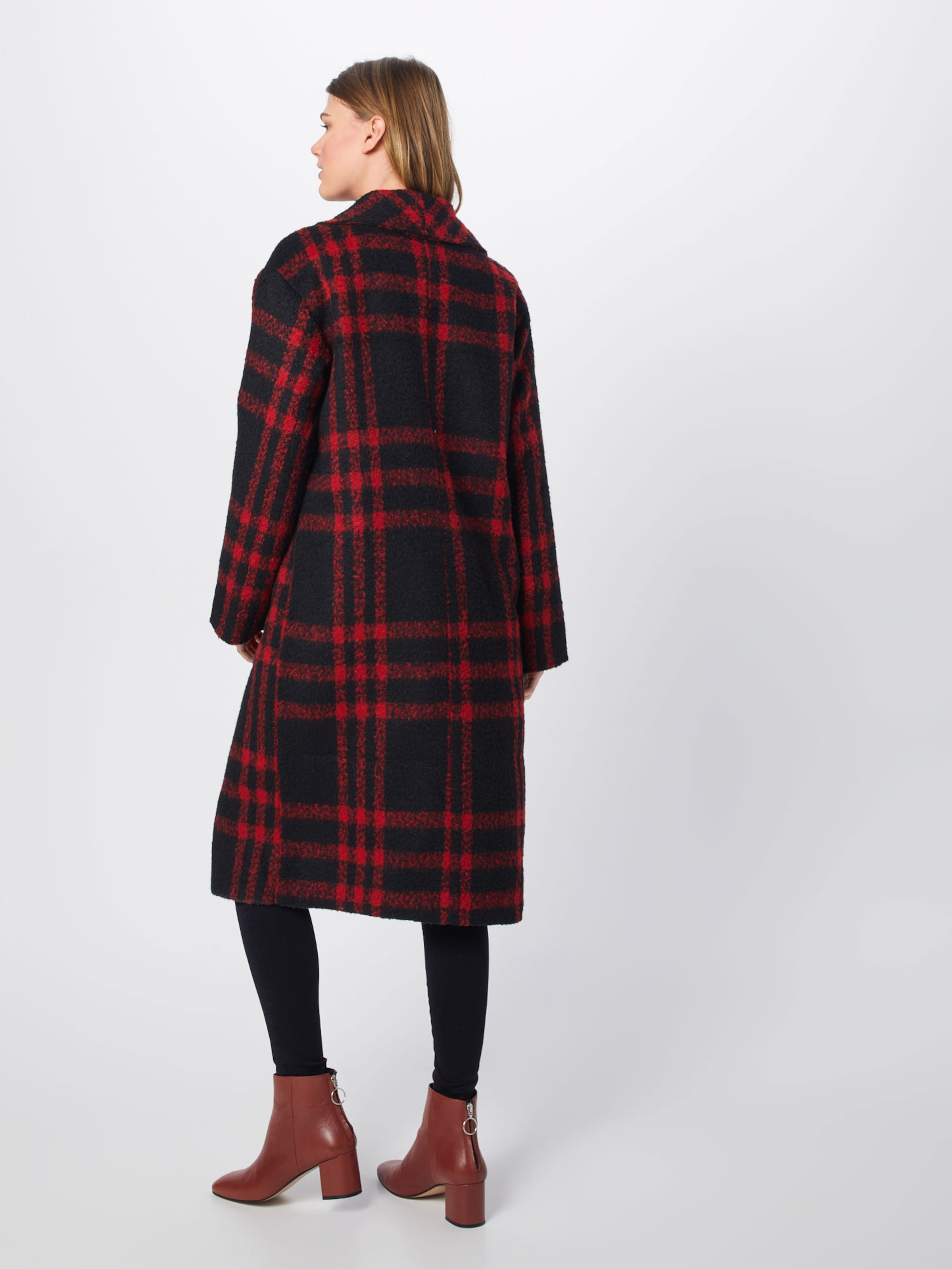 Collar RotSchwarz 'check Missguided In Shawl Mantel Coat' N8Omv0nw