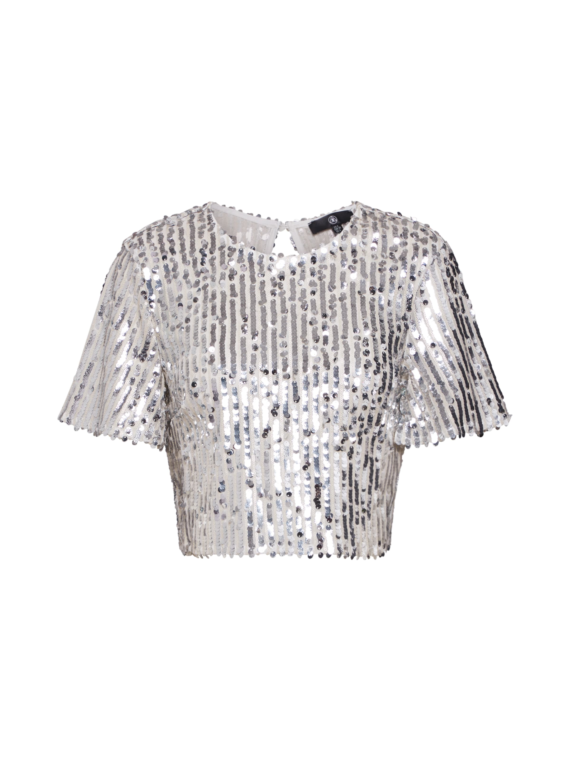Ord' Missguided Shirt In Co Silber Crop 'sequin Top XkiuOZTP