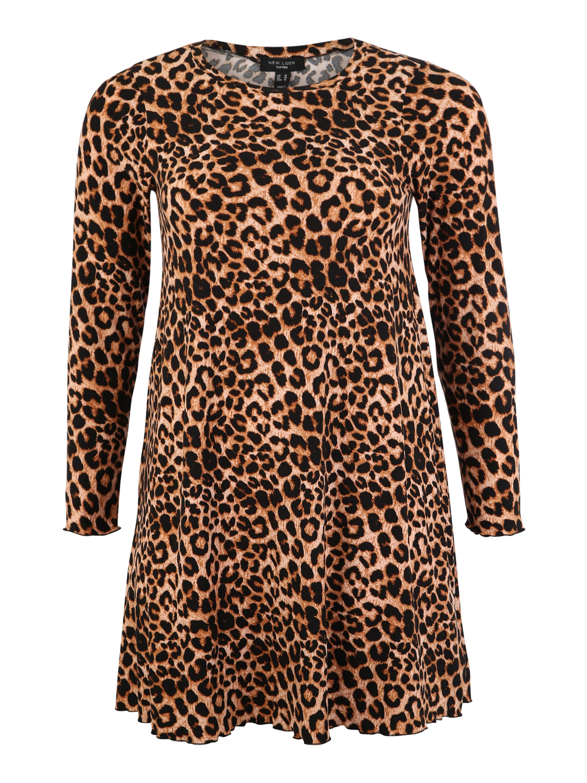 New BraunGelb Kleid Soft In Look Curves 'leopard Touch' 7Ybf6gy