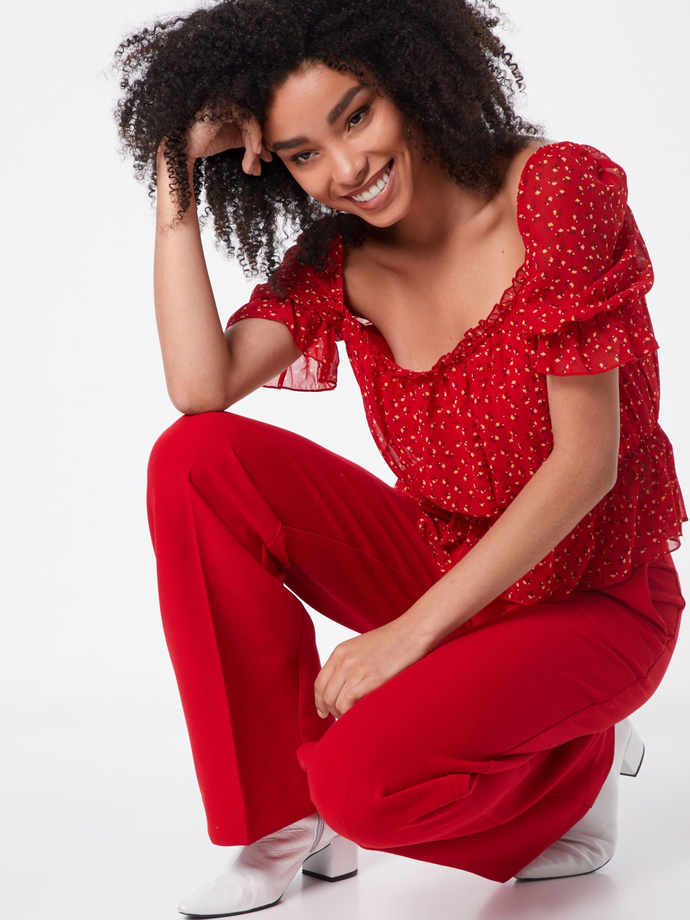 Floral 'ditsy Top' Bardot Missguided shirt T Rouge En 1KcTFJl