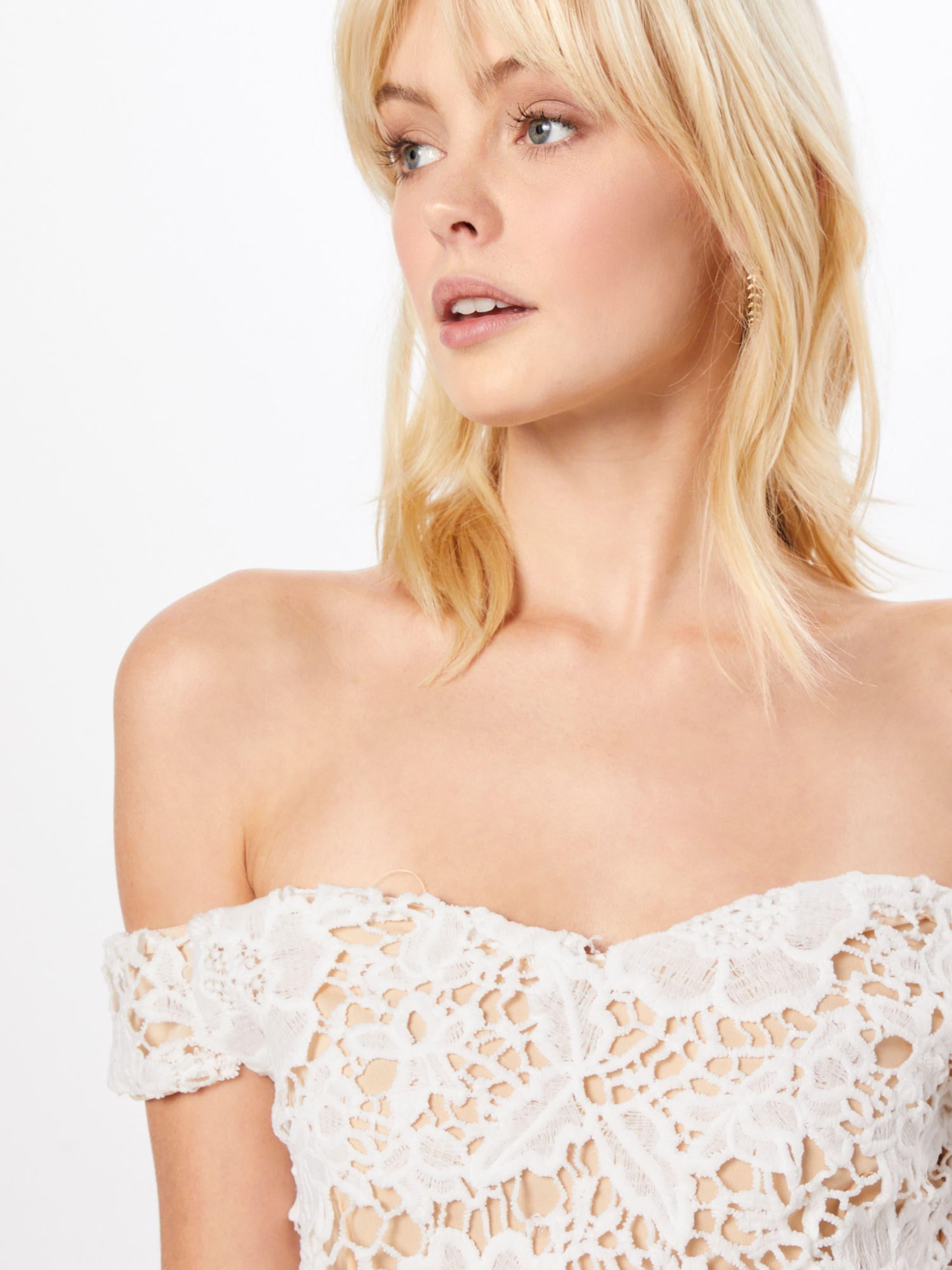 Missguided Blanc Robe Lace En 'bardot Dress' Midi L3A5j4R