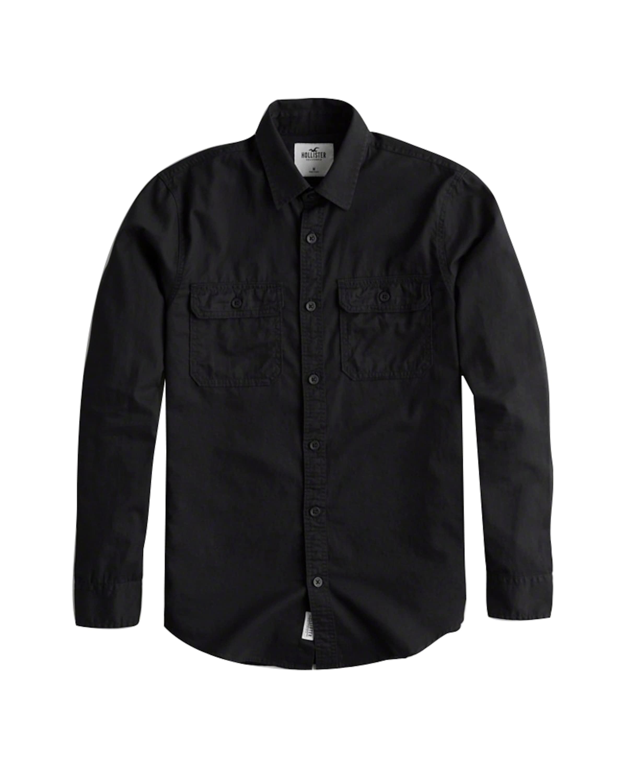 Twill Hollister Solid Overshirt En Noir 'ls 1cc' Chemise Y9EWDHI2