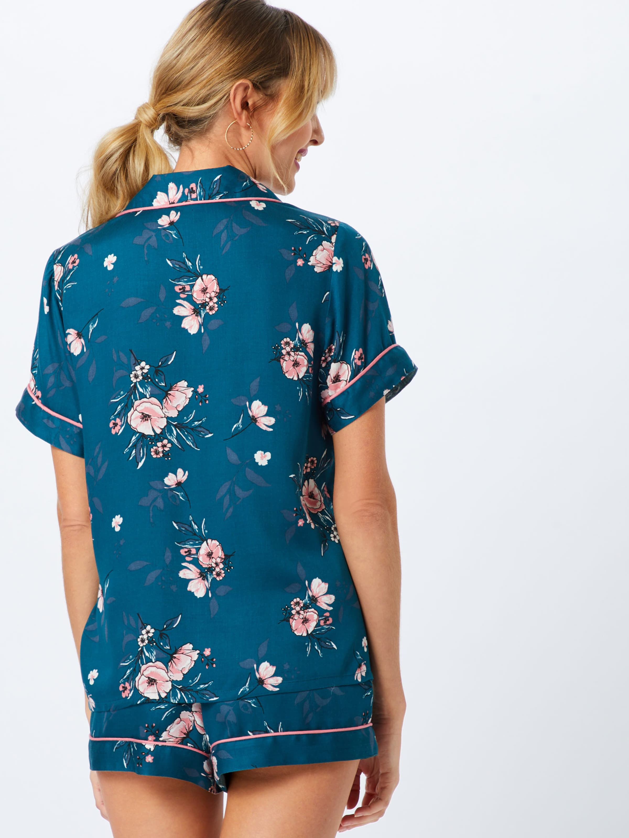Ss En Hunkemöller Chemise Nuit Bleu De 'jacket Rose' Woven c345jRqAL