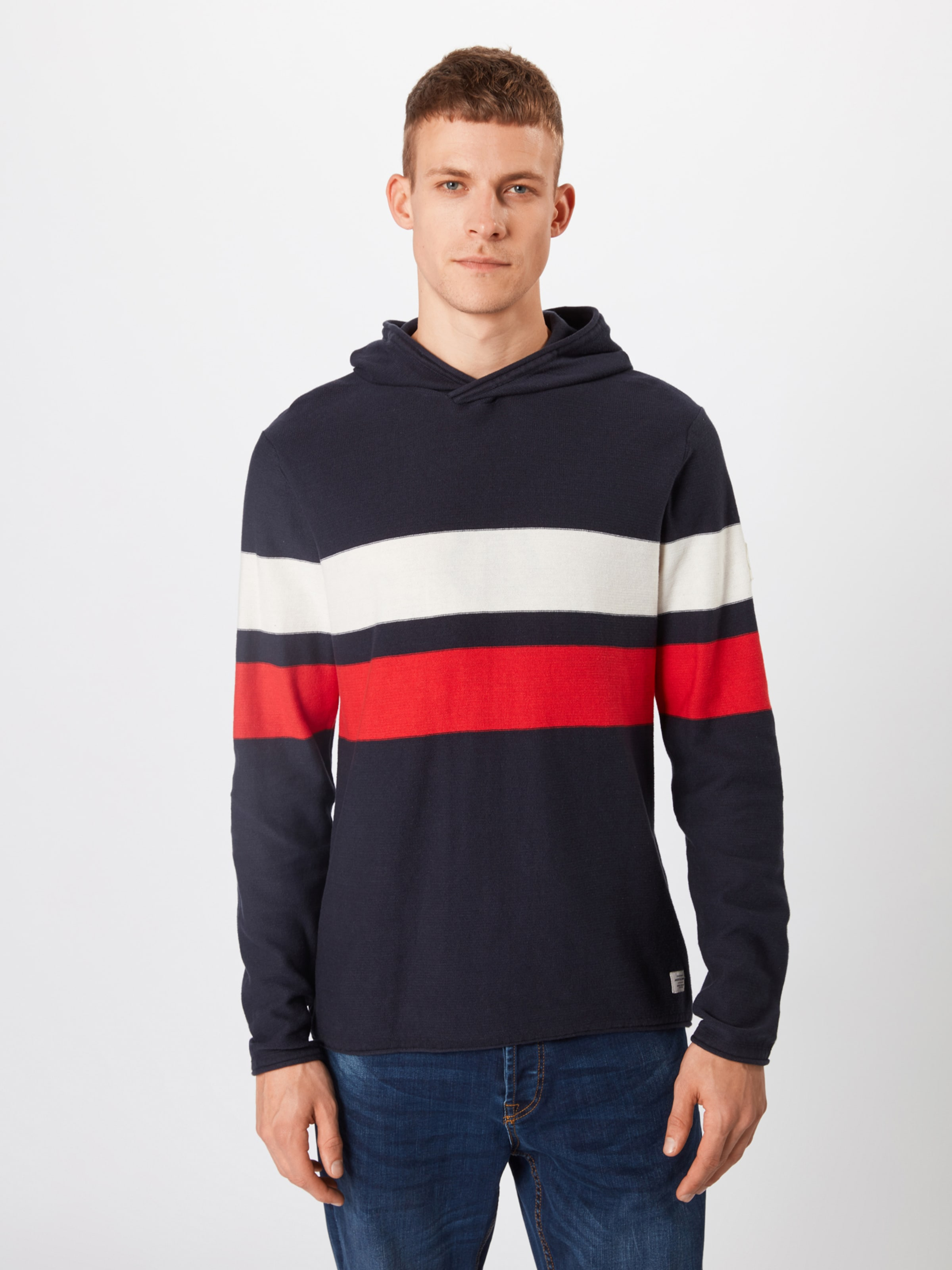 'jorcave Hood' En over Jones Jackamp; Pull Knit MarineRouge Blanc Bleu kXuPOZi