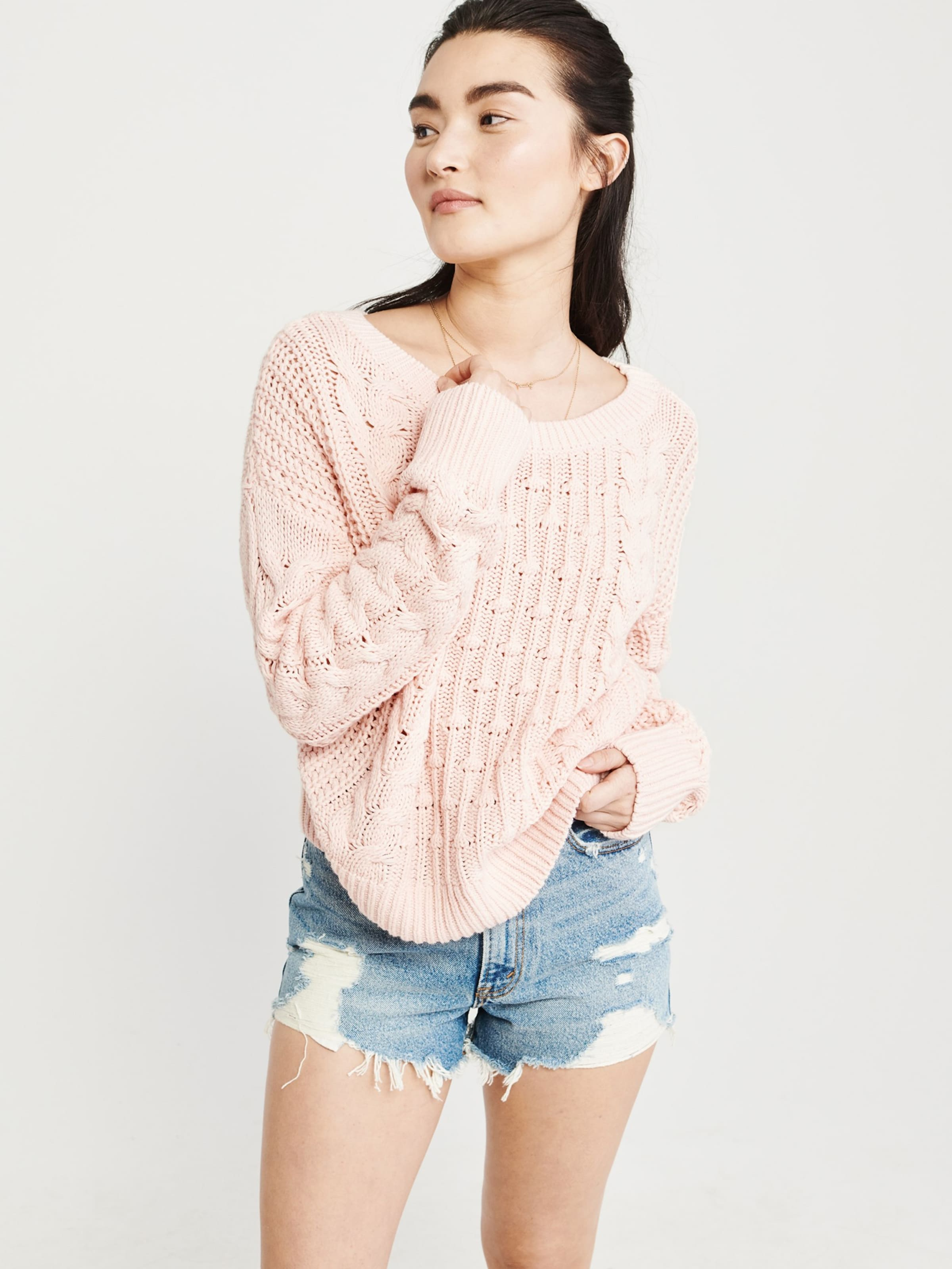 bobble Pullover Cable 'sb19 In Pink Abercrombieamp; Fitch Crew' qpSUzMV