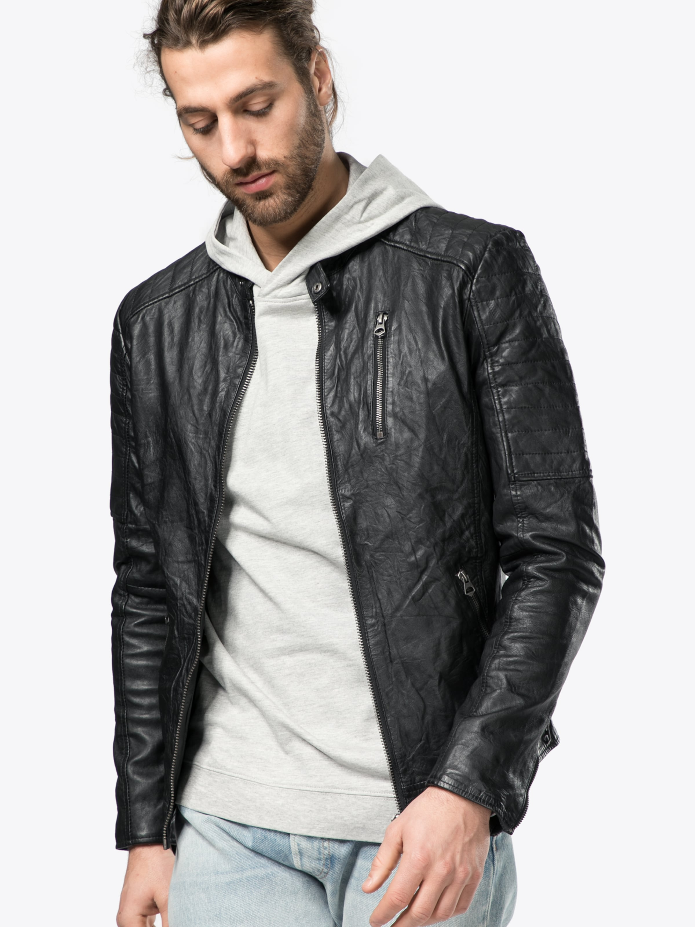 Jones Veste Jacket Leather saison Noos' En 'jjvrichard Jackamp; Mi Noir Lamb TlFK1cJ