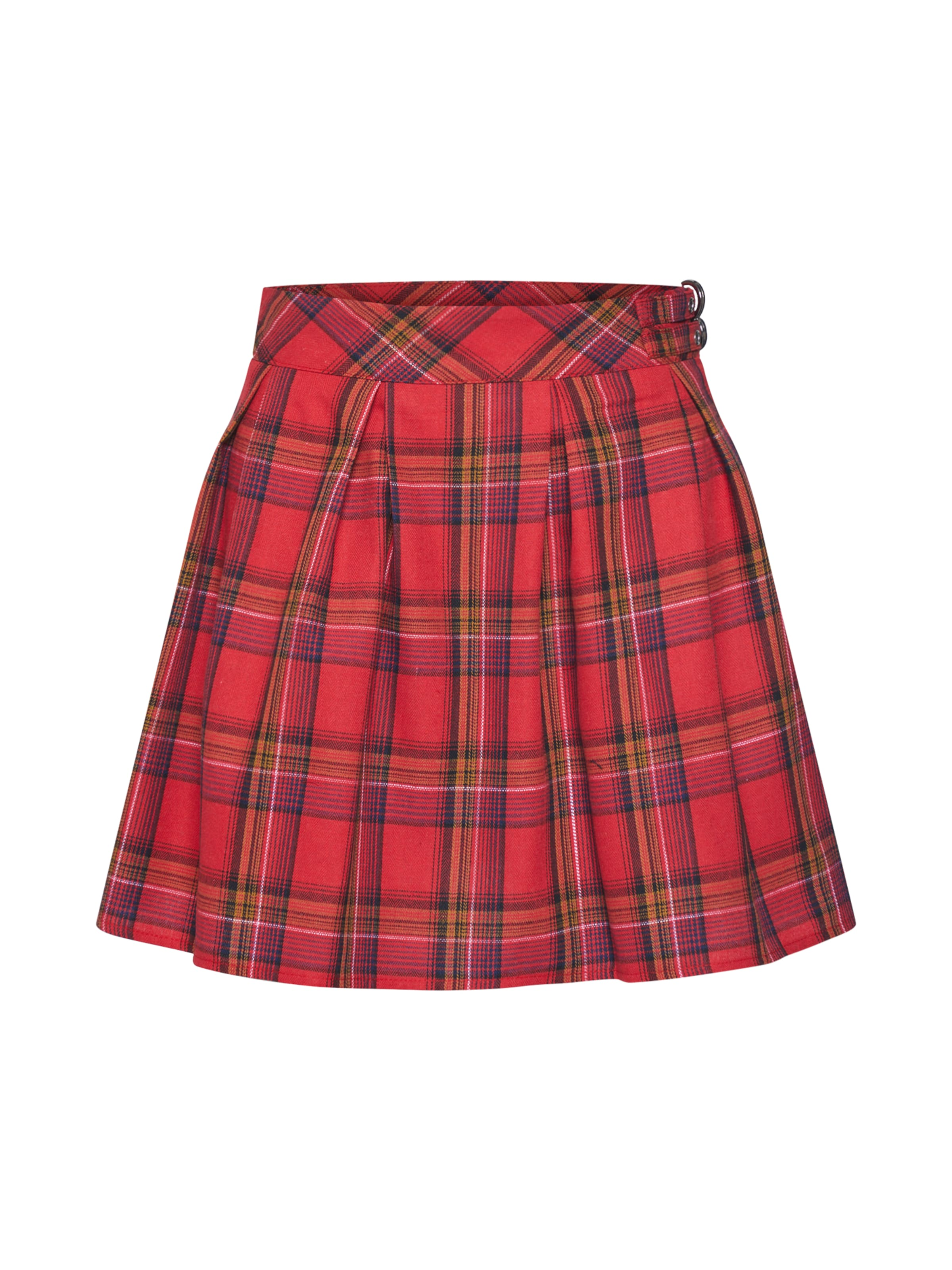 Buckle Detail En Mini Skirt' Jupe 'check Missguided RougeNoir Pleated W9H2YEDI