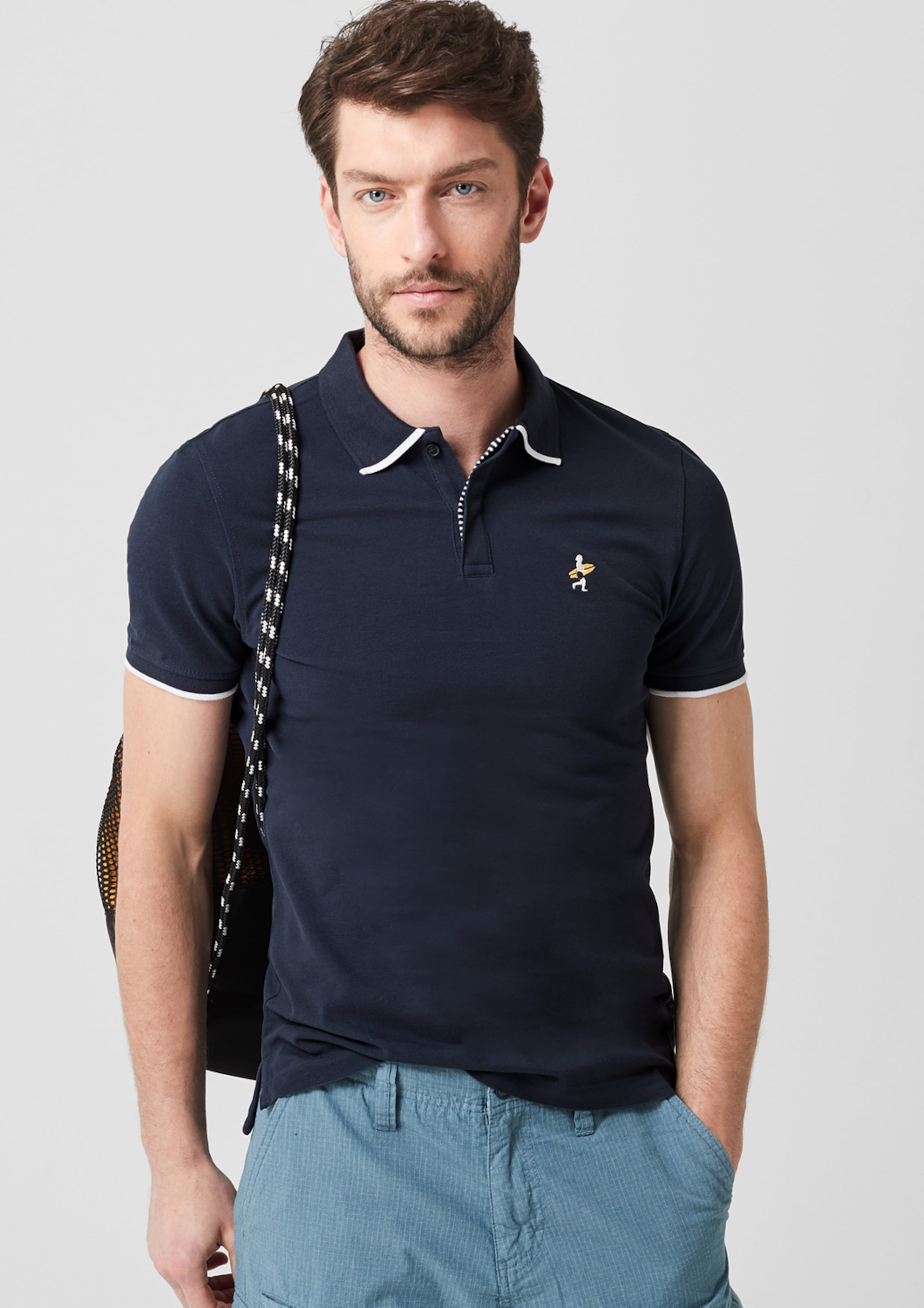Red Poloshirt S oliver Nachtblau Label In 5LjqRc34A