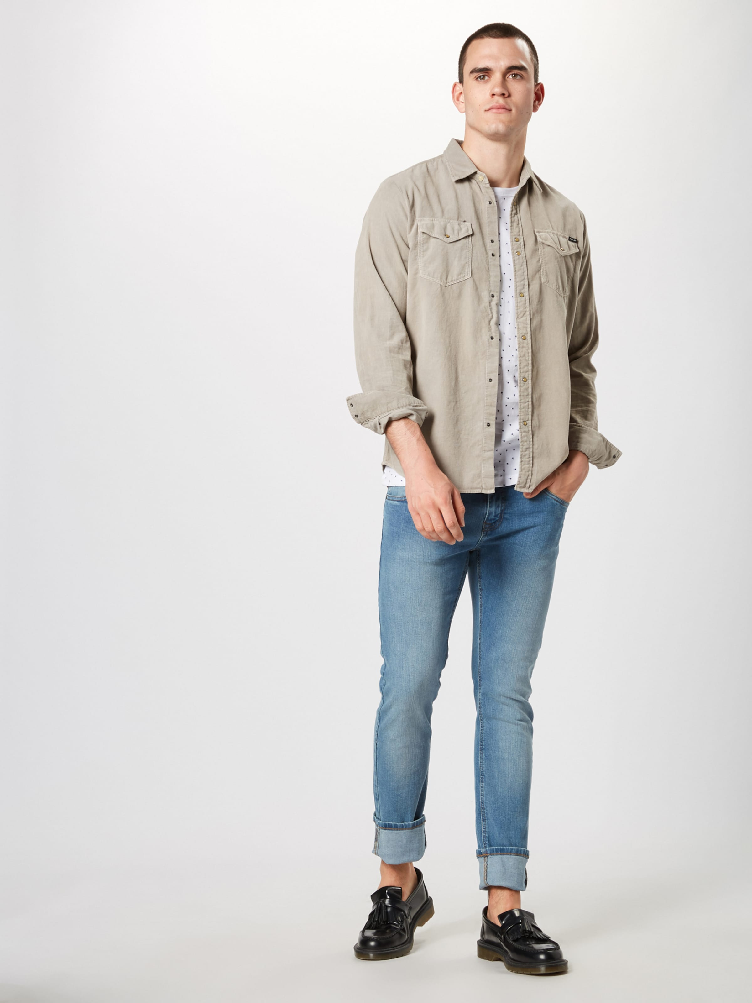 Denim Bleu FoncéBlanc Tom En Tailor shirt T 8mOnwvyN0