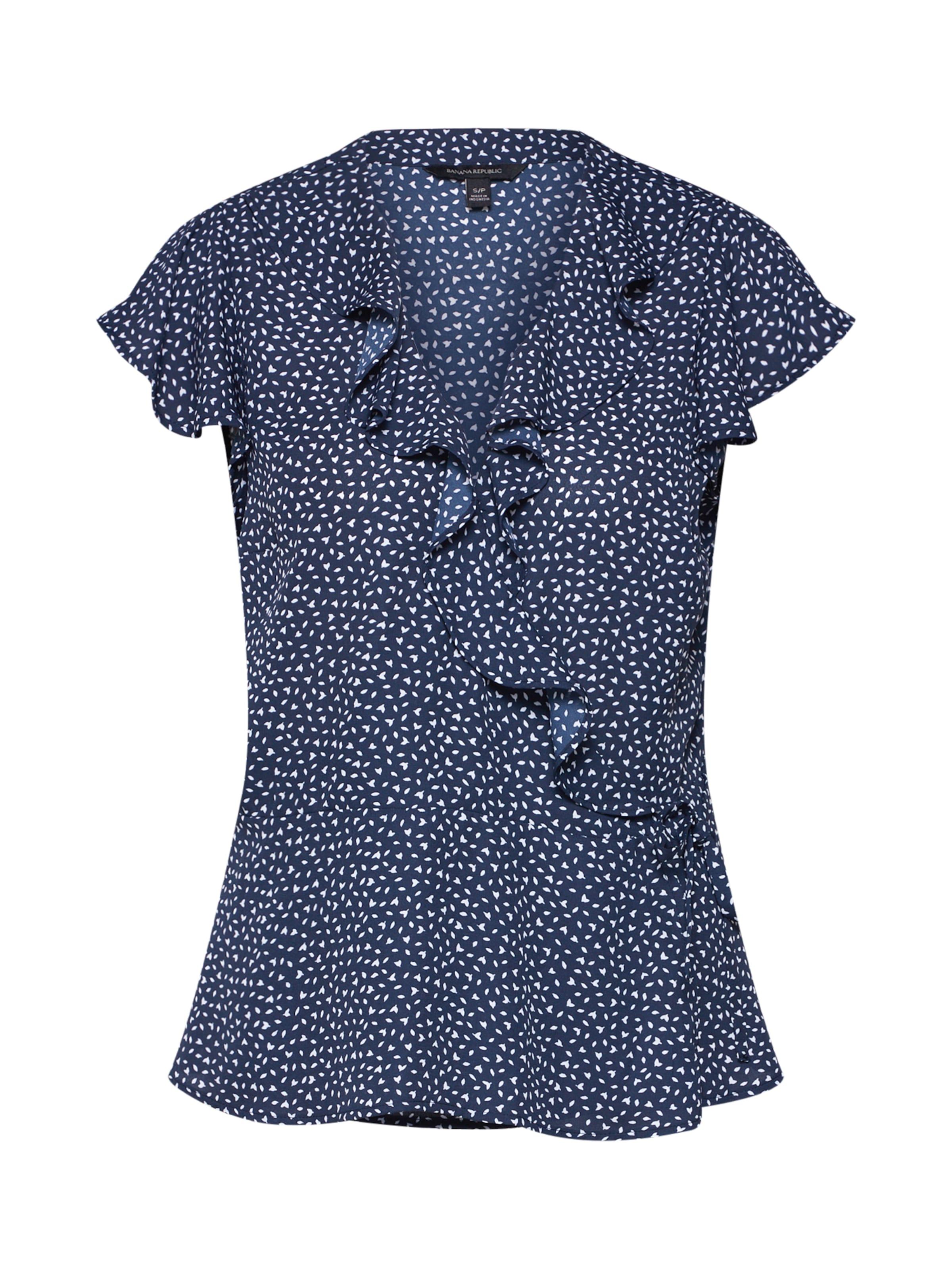 Top Bleu shirt 'ss Republic Leaves' Wrap T Banana Ruffle Noprint Marine En 1JcuF5TlK3