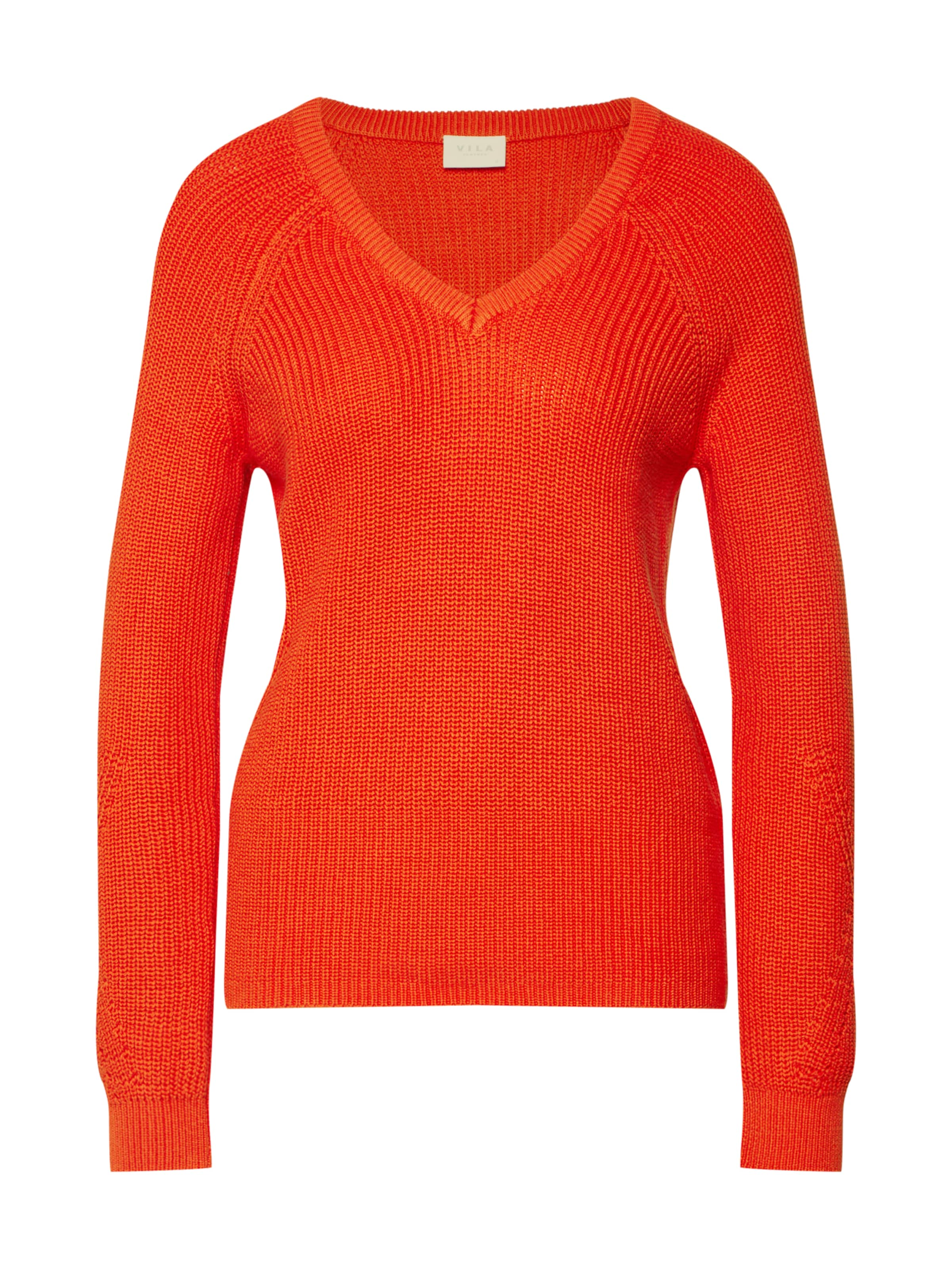 In s 'vimyntani Top' Knit Orangerot Pullover Pointelle L Vila lJFcK1