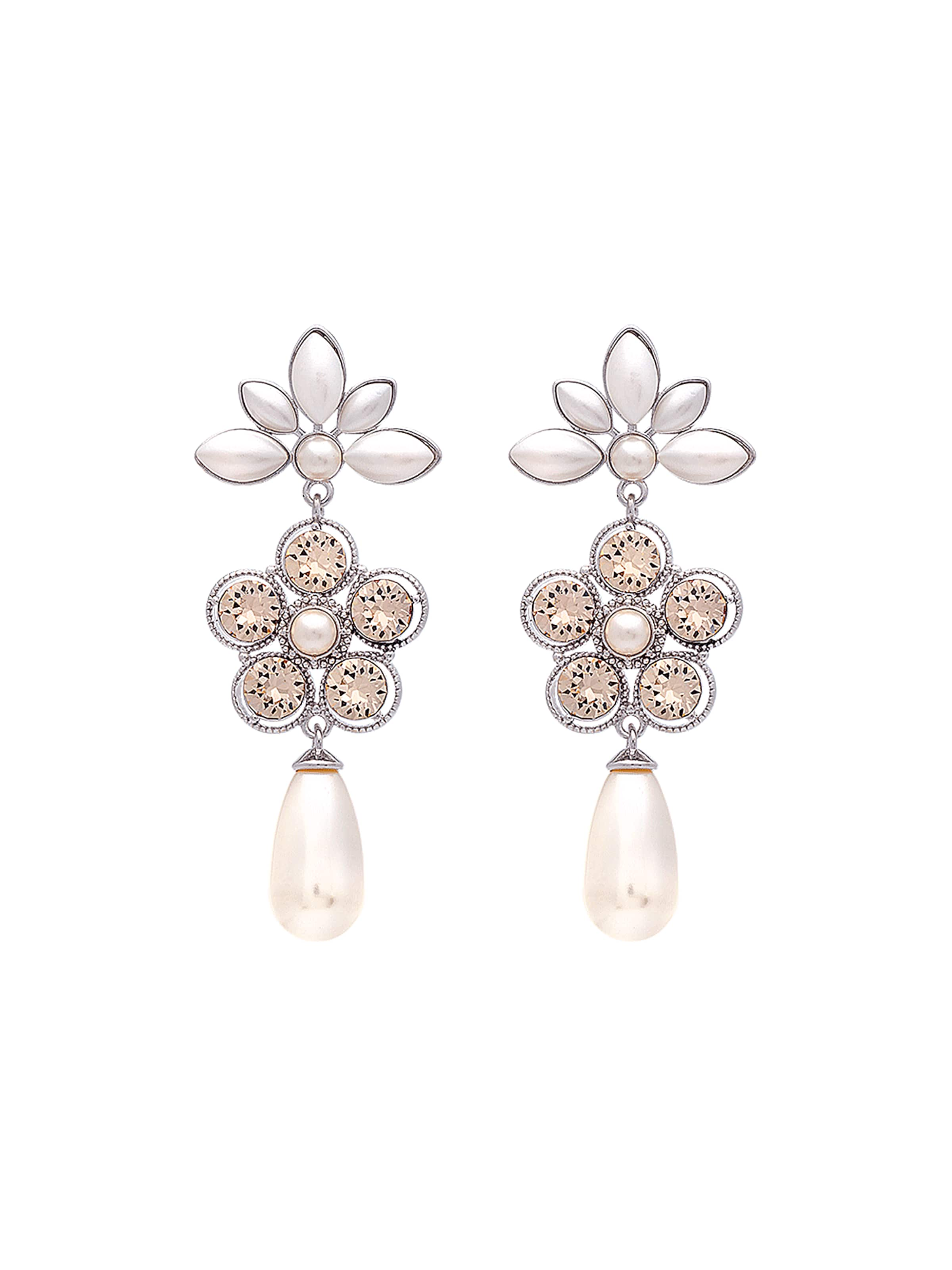 Perle 'aurora' Lily EnArgent Rose D'oreilles Blanc And Boucles 9DHE2IW