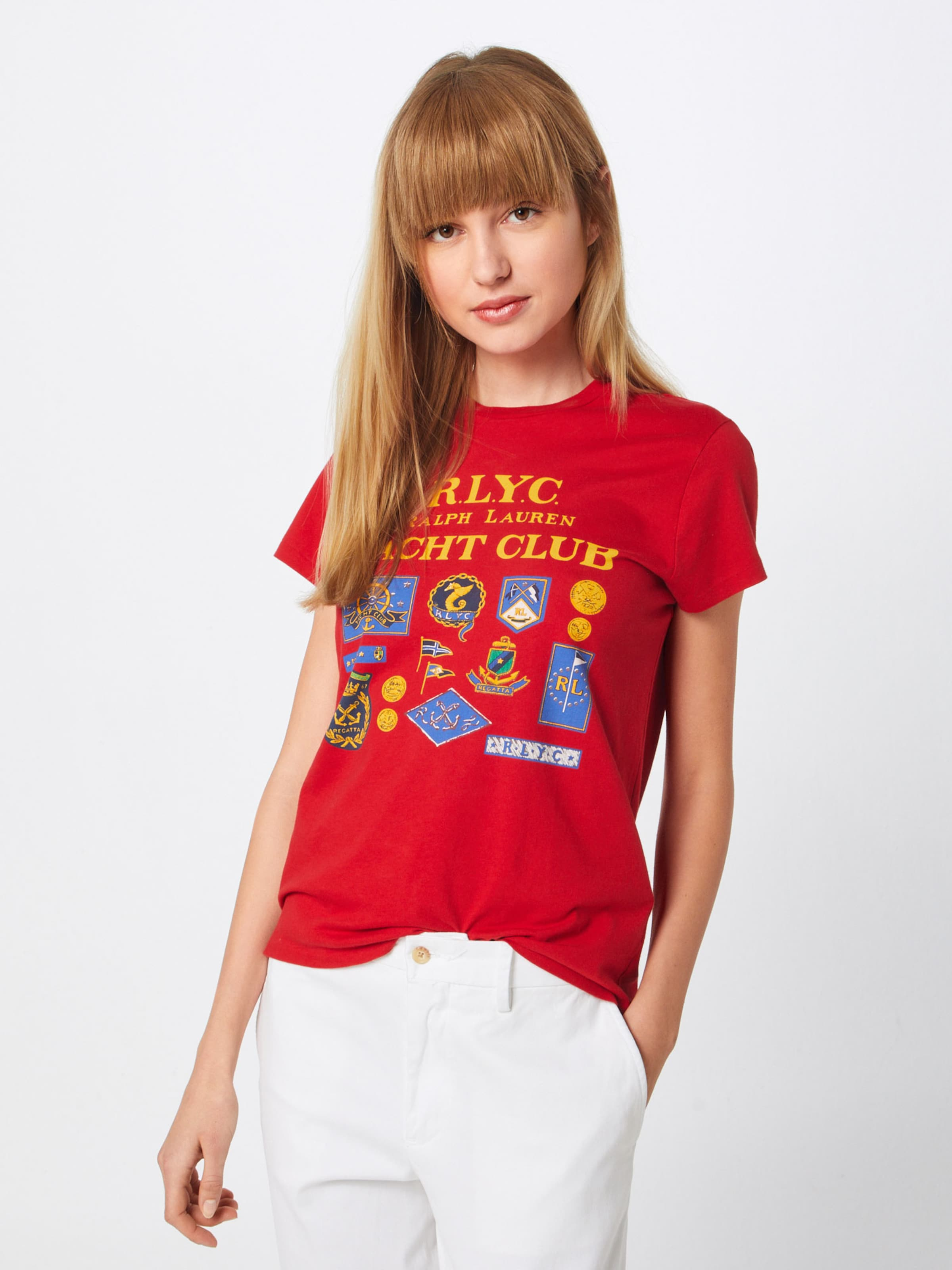 short shirt 'rlyc BleuJaune Lauren Polo En Rl T Tee knit' D'or Ralph Rouge Sleeve 0vwy8OmNn