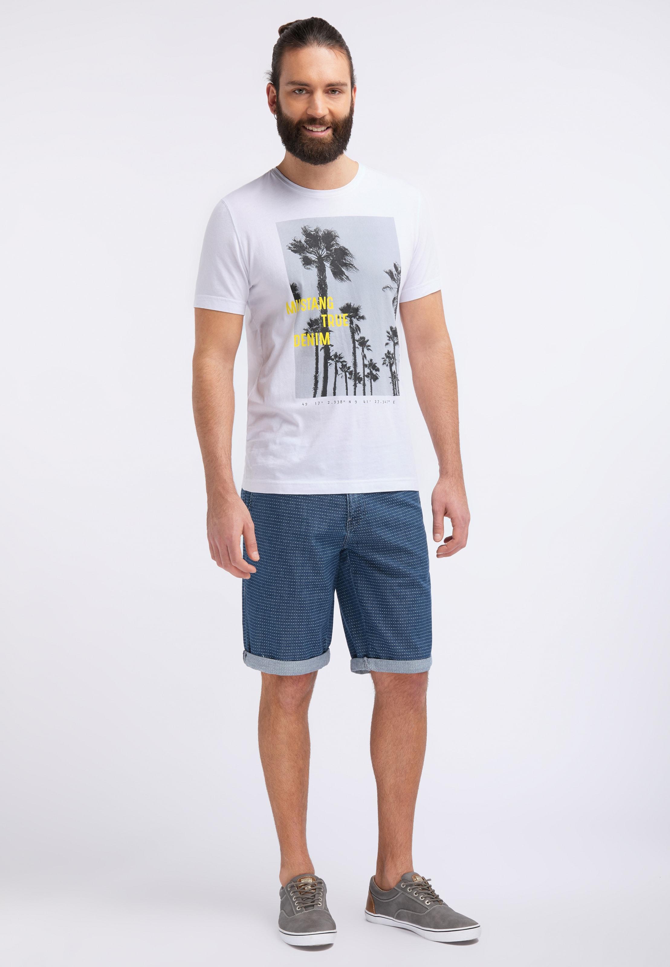shirt GelbWeiß Mustang In T 'photoprint Shirt' Nn0vm8wO