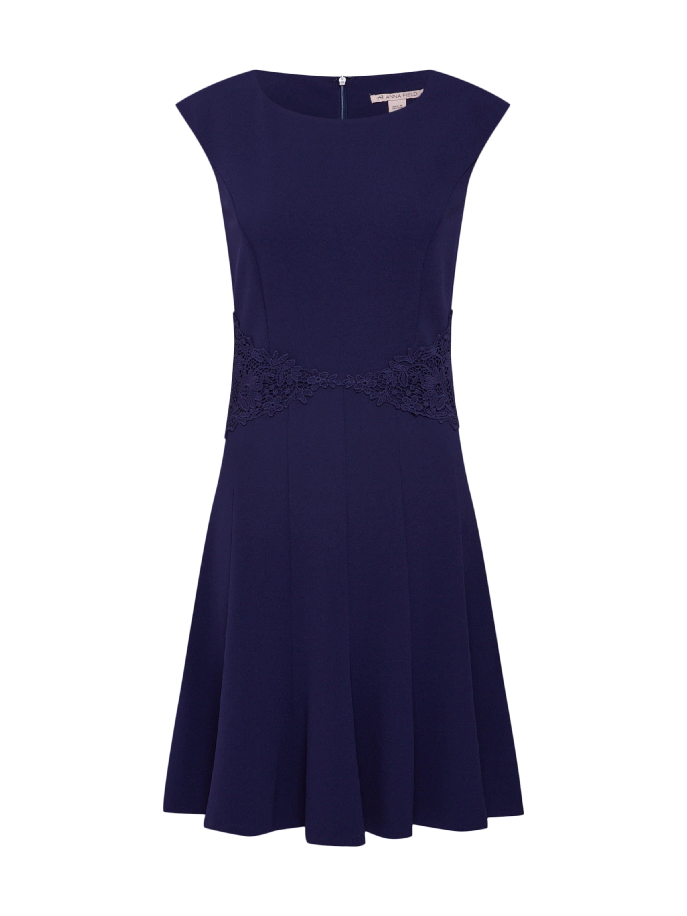 Field Skirt' Lace And With En 'jersey Flared Anna Marine Dress Robe Bleu D'été Belt lJK3FT1c