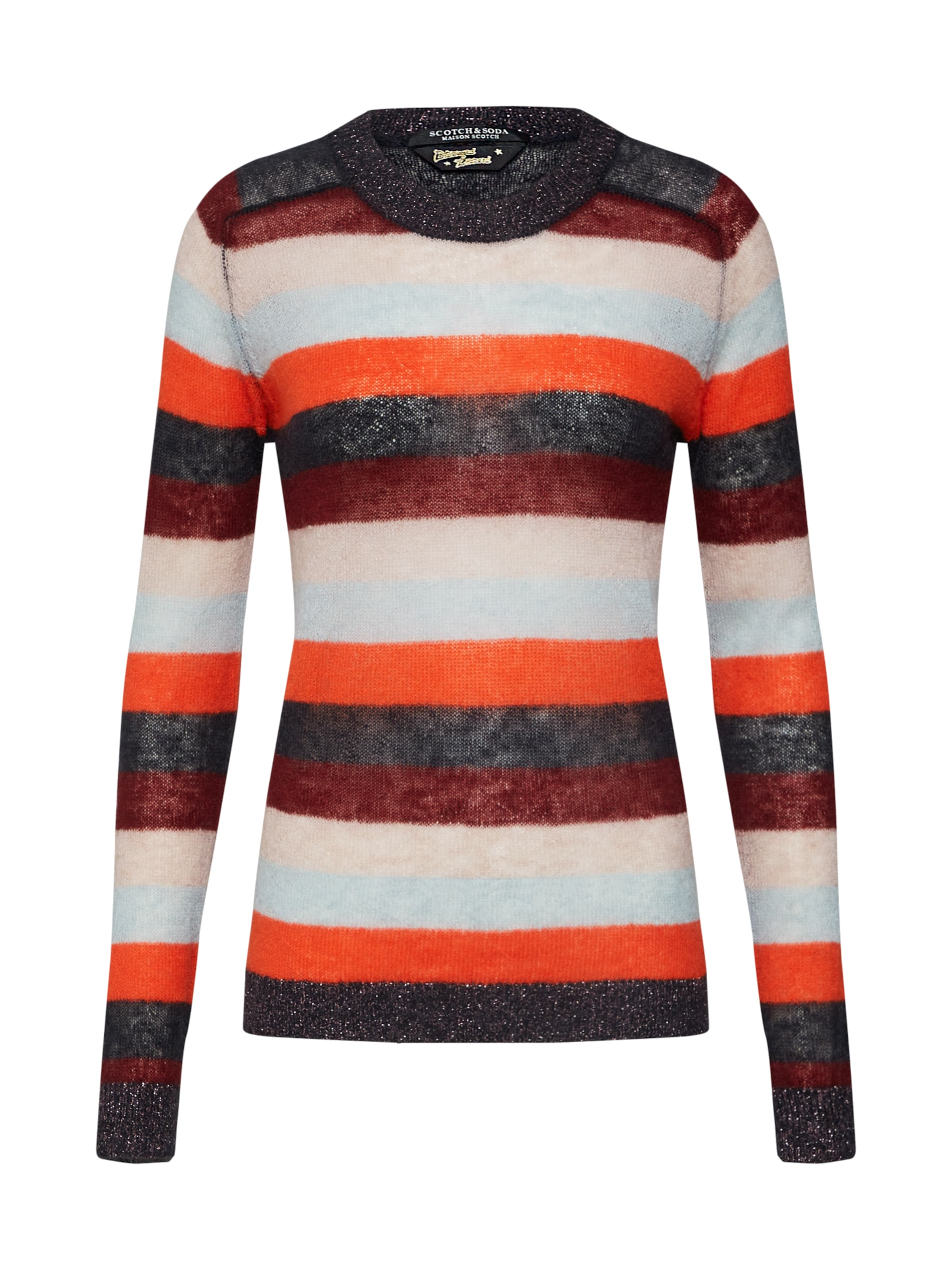 over En Pull Colourful In Crew 'knitted Neck Scotchamp; CremeAubergine Stripes' Soda Rot DHW29EI