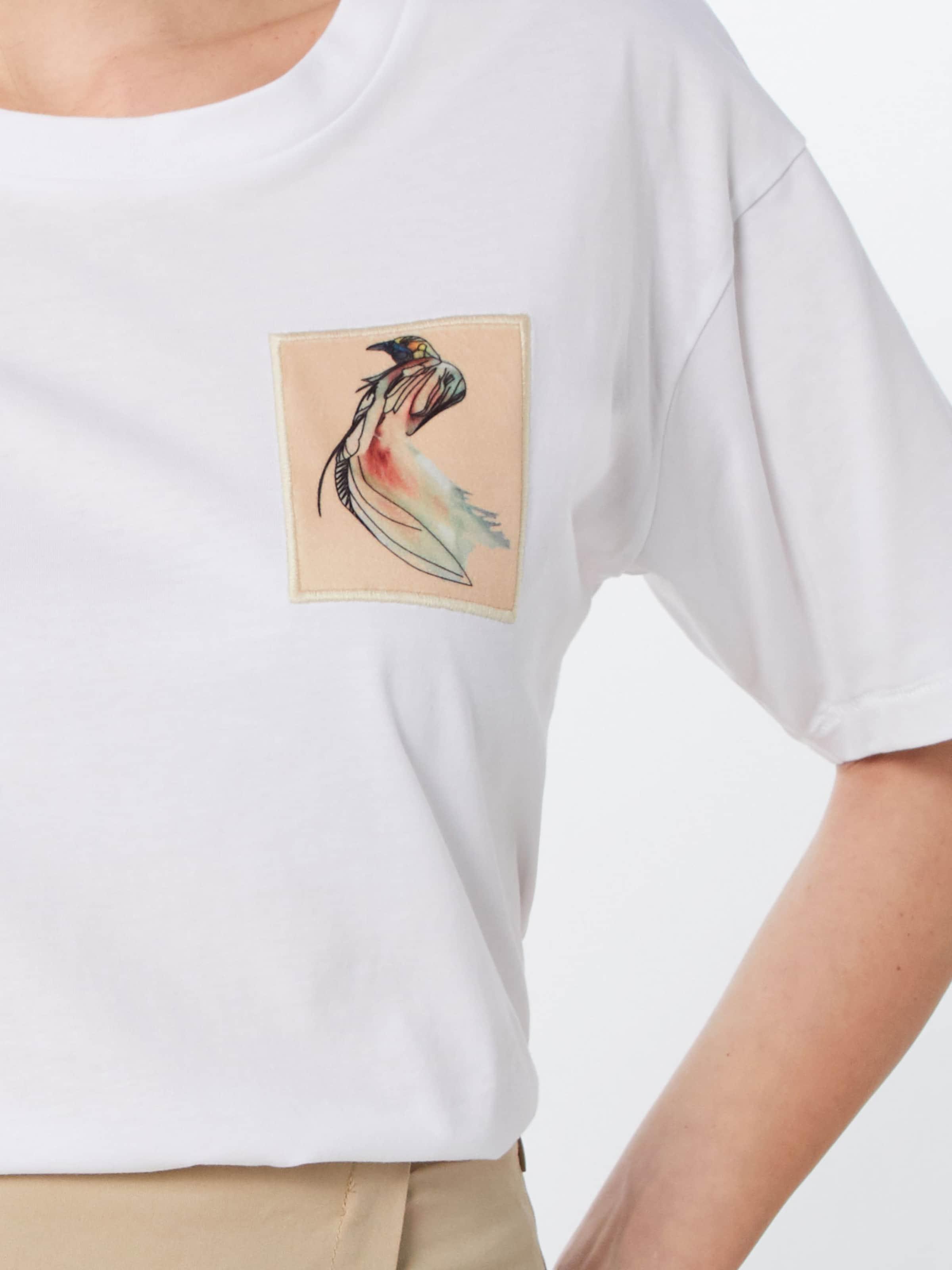 T Tee' Postyr shirt Blanc 'posirina Bird Patch En H29DEI