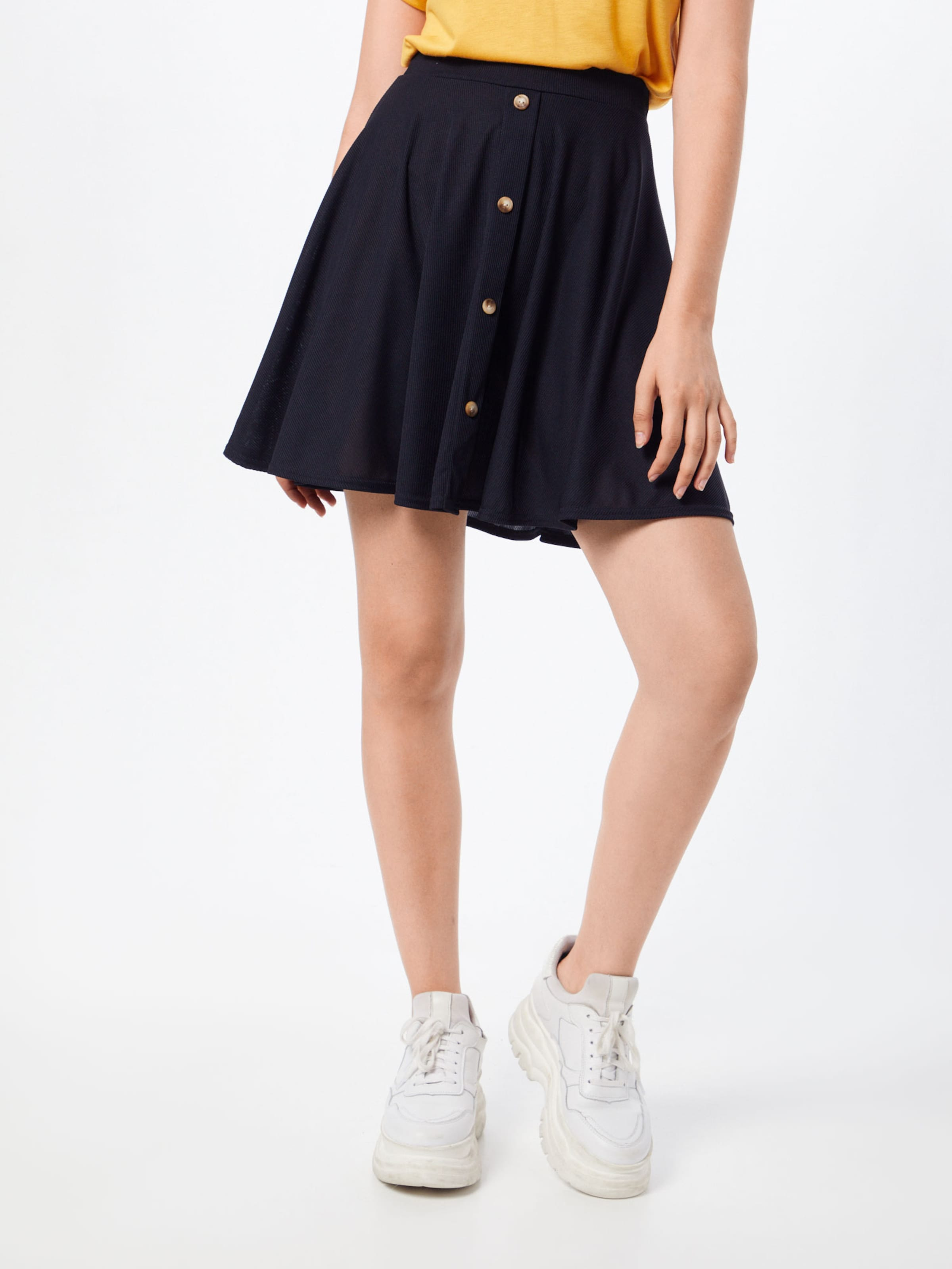 Boohoo 'basic Button Ribbed Mini Front En Skater Jupe Noir Skirt' N0vmnOy8w