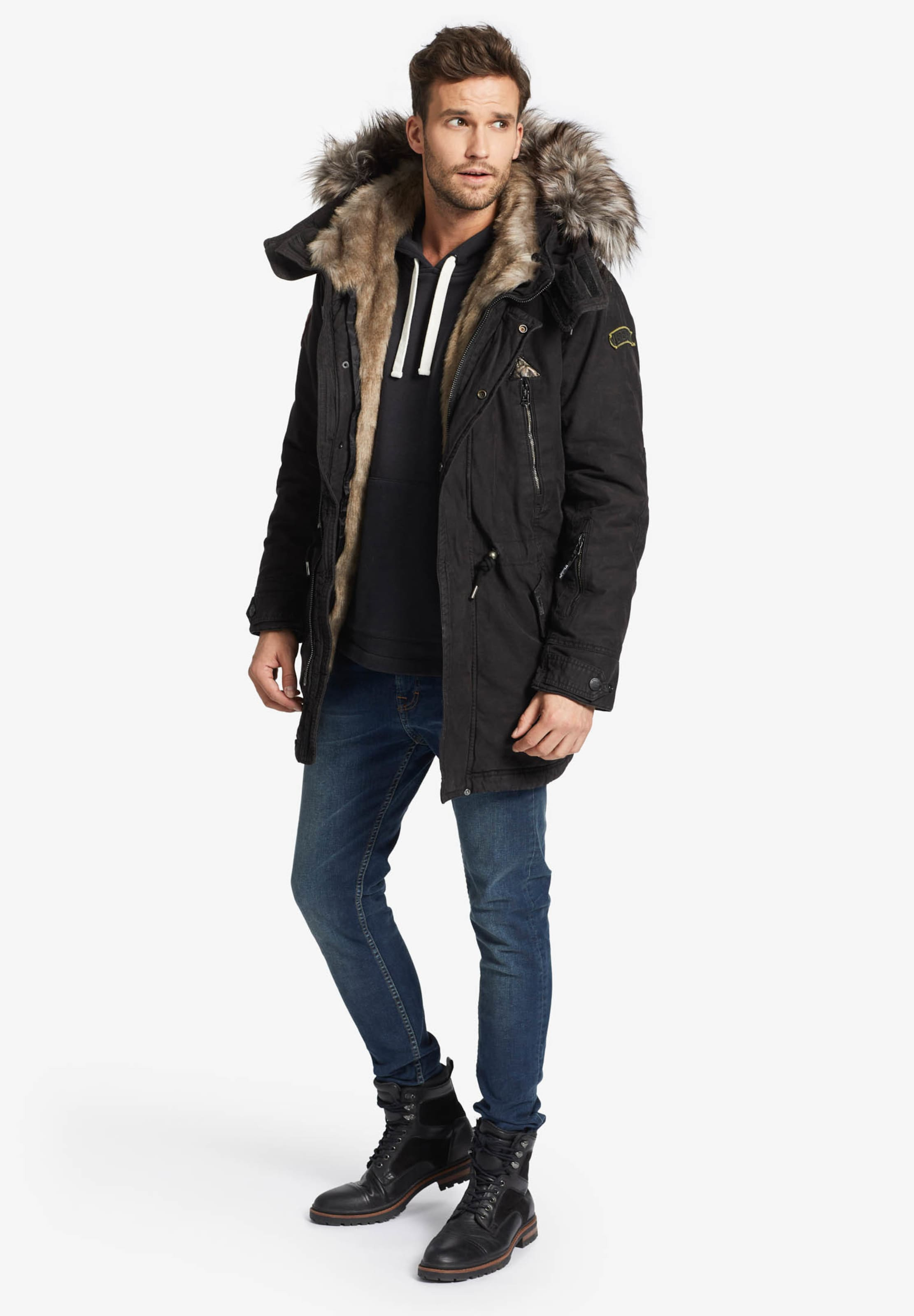 Parka Jacket' Noir Khujo En Inner 'unkar Solid D'hiver With Fur dexBrCoW