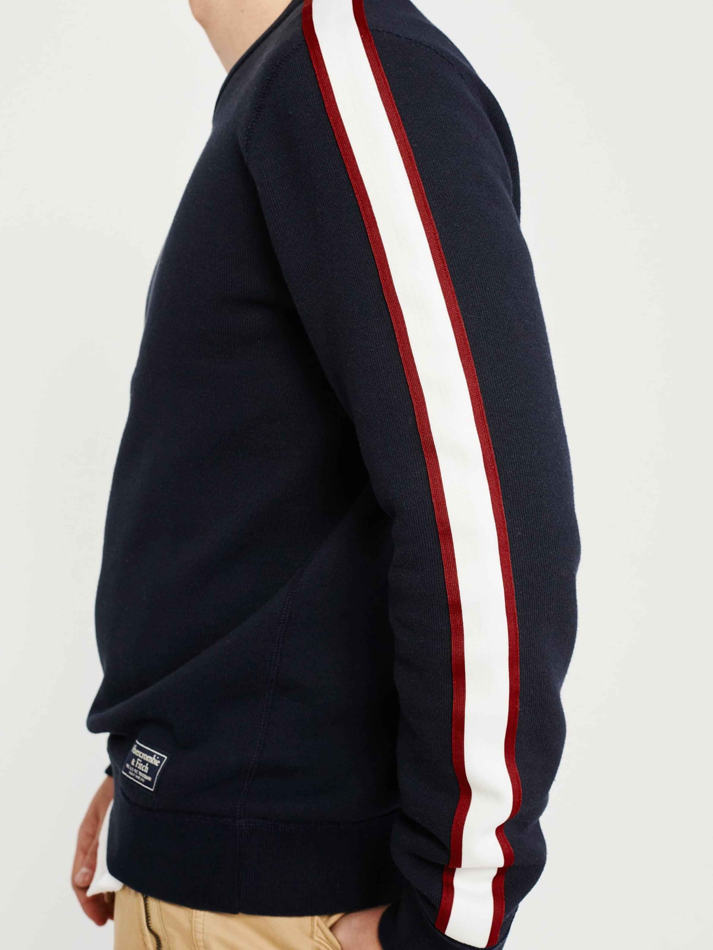 Abercrombieamp; 'sleeve shirt Marine En Crew' Bleu Sweat Tape Fitch wOkn0P