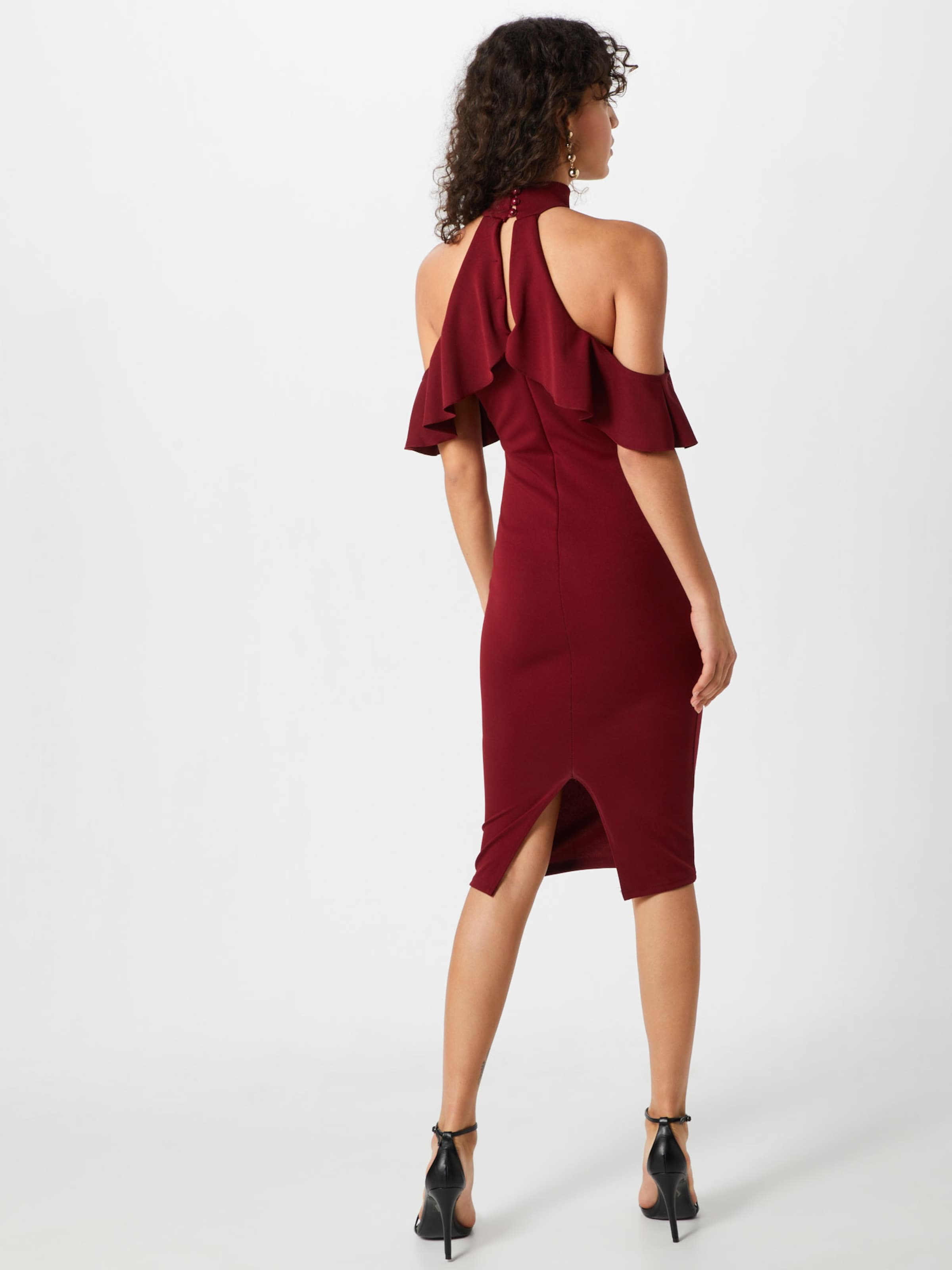 En Cold Cocktail Frill Dress' De Robe Midi SchwarzNaturweiß Missguided 'high Neck Shoulder Ivm76gybYf