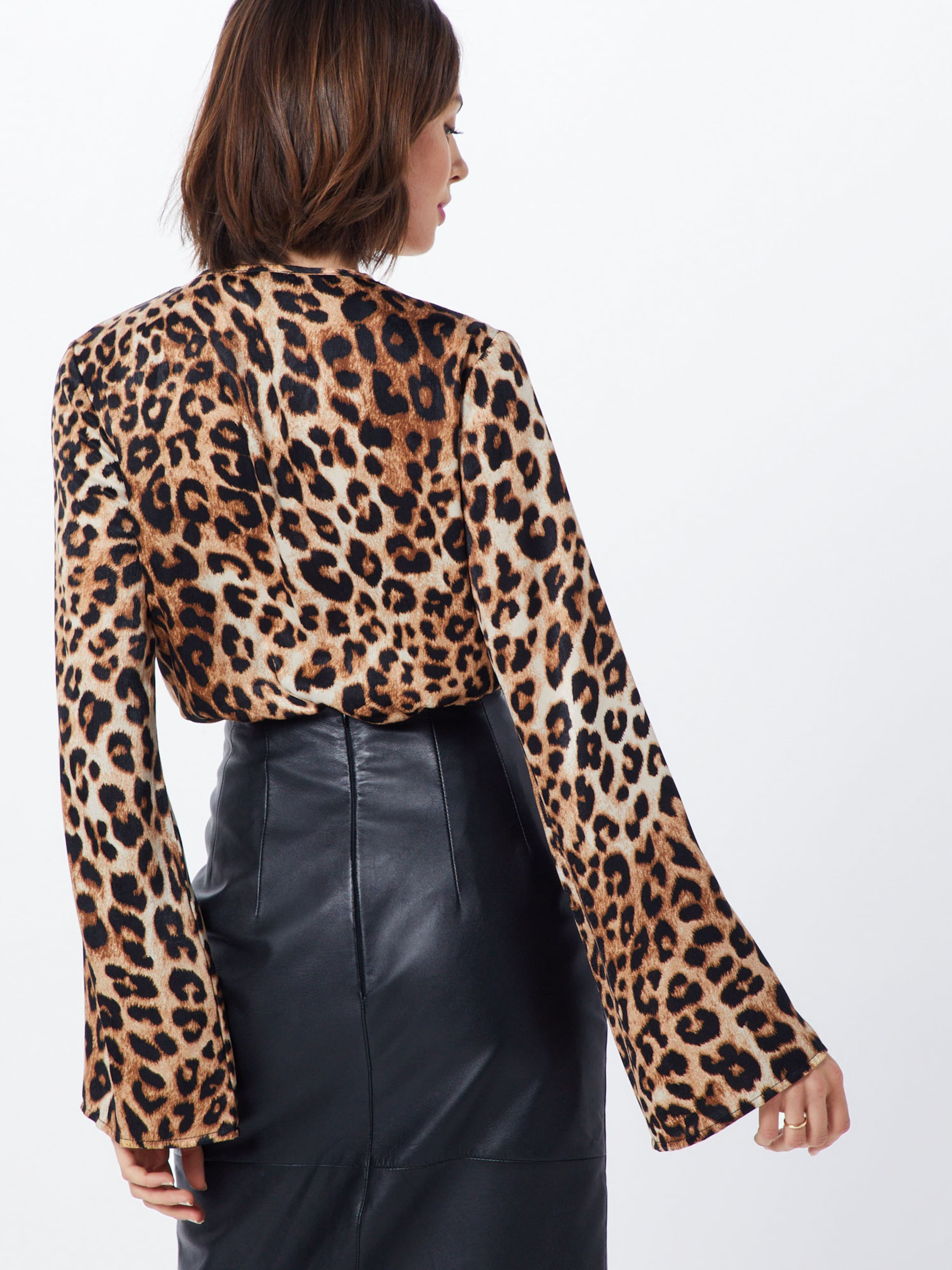 MarronNoir Bodysuit' Missguided En 'animal Plunge Chemisier Drape UMGSVpqzL