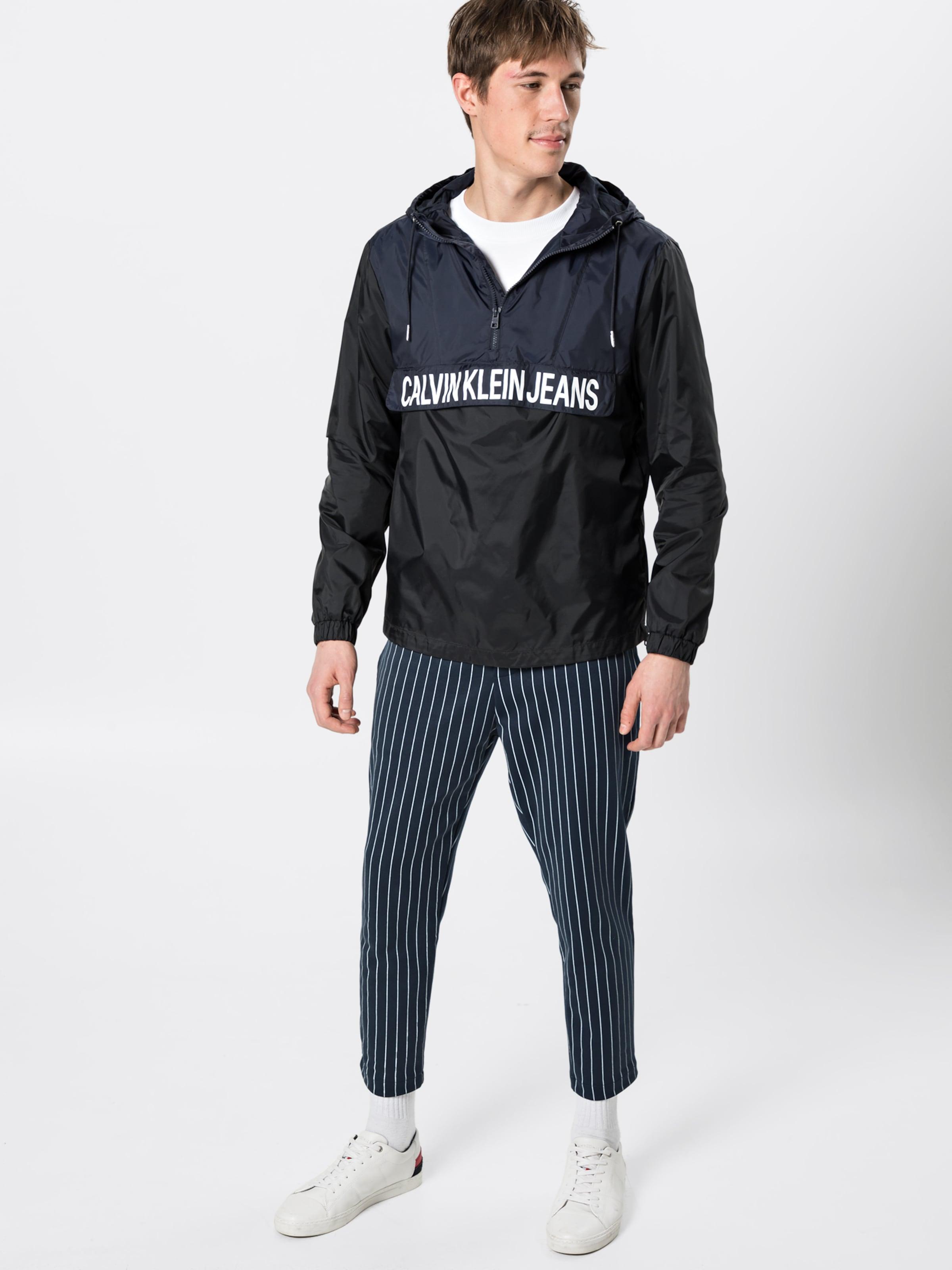 Veste saison Jeans Block 'color Calvin NoirBlanc Mi En Nylon Popover' Klein thsCrdQ