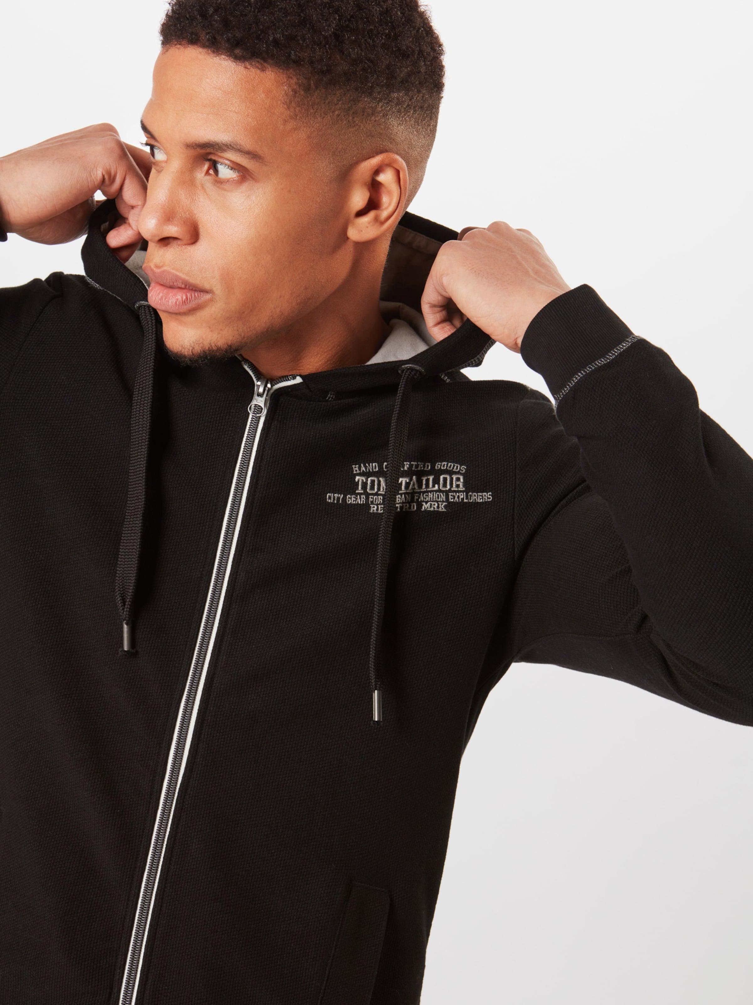 Tom Tailor Survêtement En Veste De 'sweat Jacket Hood' With MasticNoir XuTkOZPwli