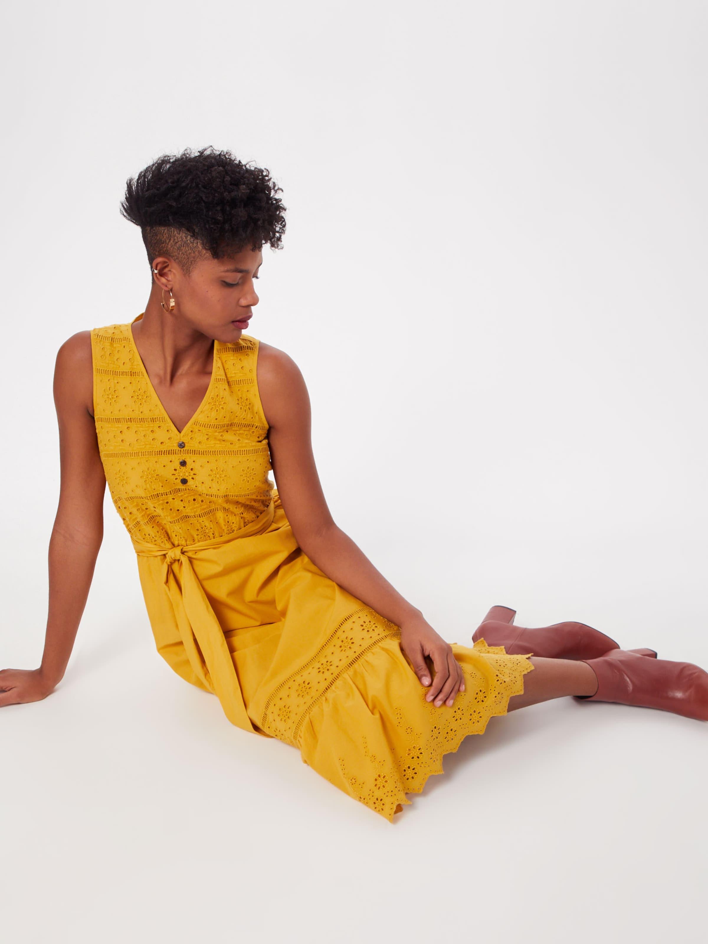 Woven Dresses Cambric Long' Esprit Ch Kleid Goldgelb In Light '60´s OXPuiZk