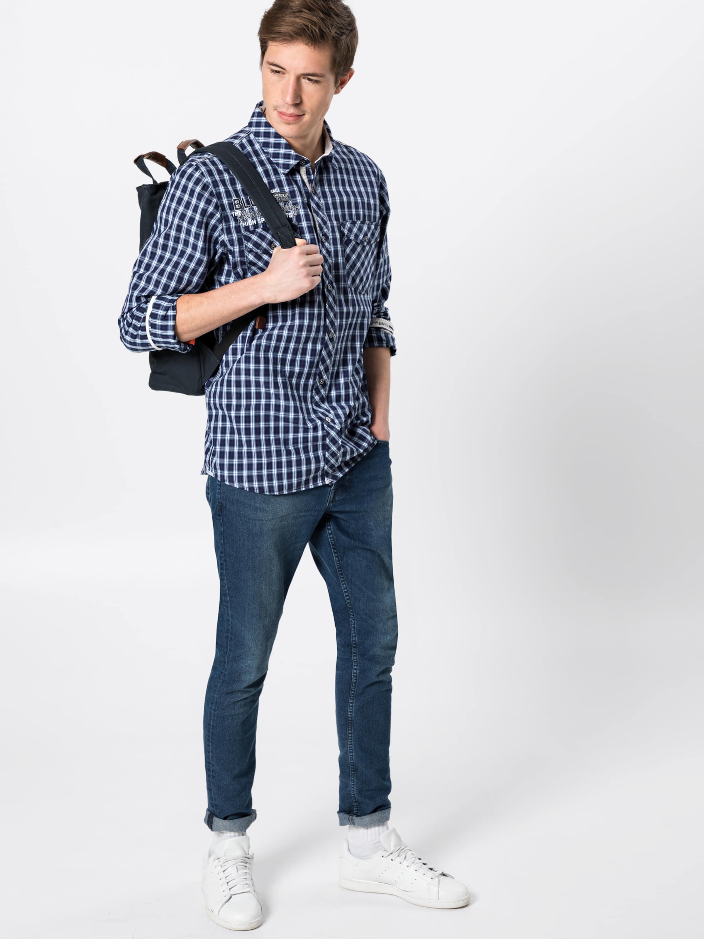 David Check' Camp 'shirt Chemise MarineBlanc Bleu 1 1 En cK1JlF