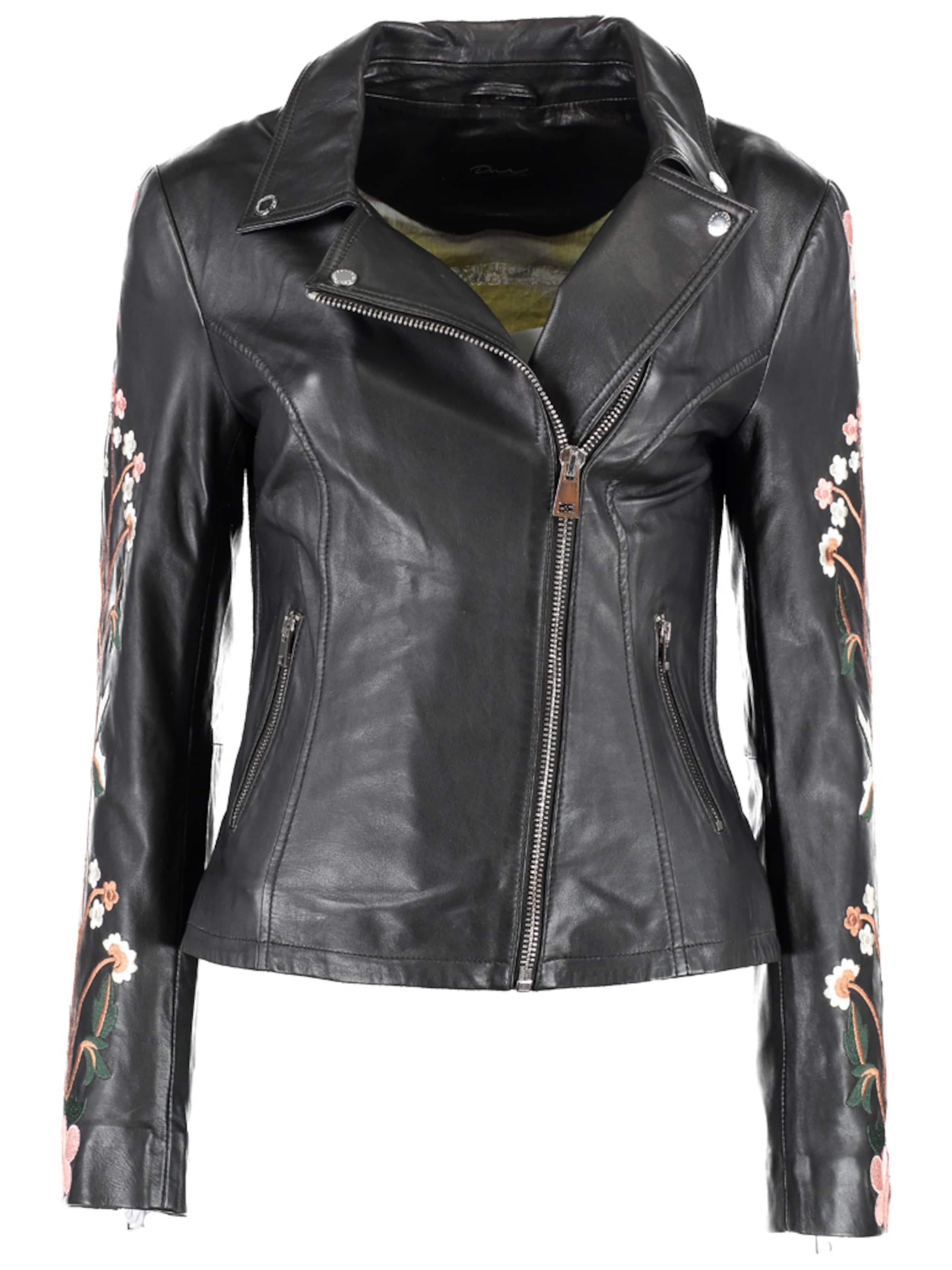 Mit In Dnr Floralen Schwarz Jackets Lederjacke Stickereien Damen toQrBhCsdx