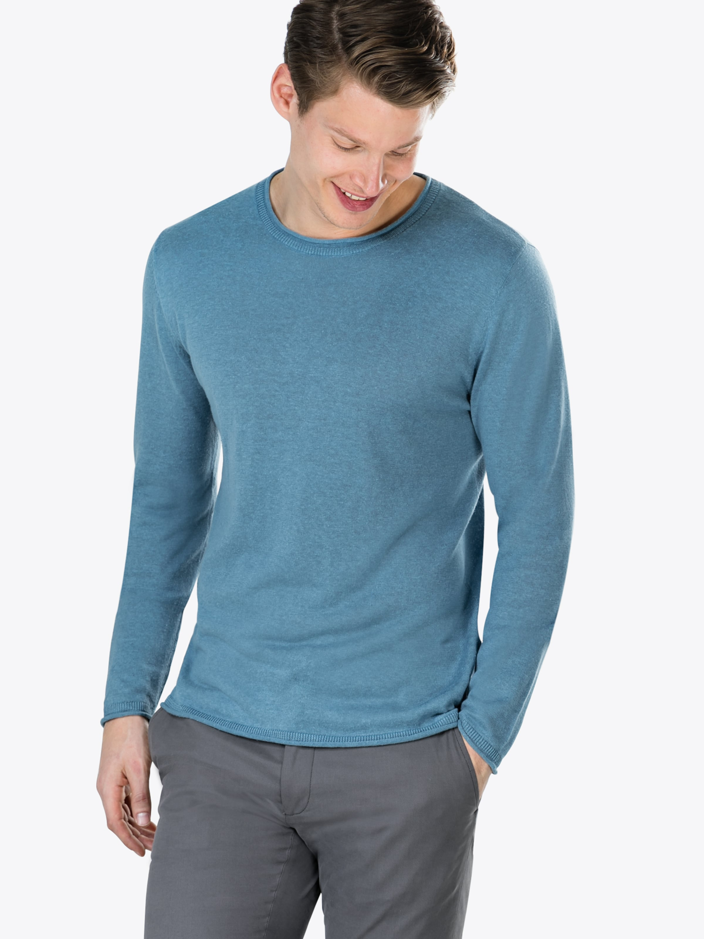 Ciel Edge' Pull Bleu 'single Knowledgecotton Apparel Roll Knit over With En nyvNwm08OP