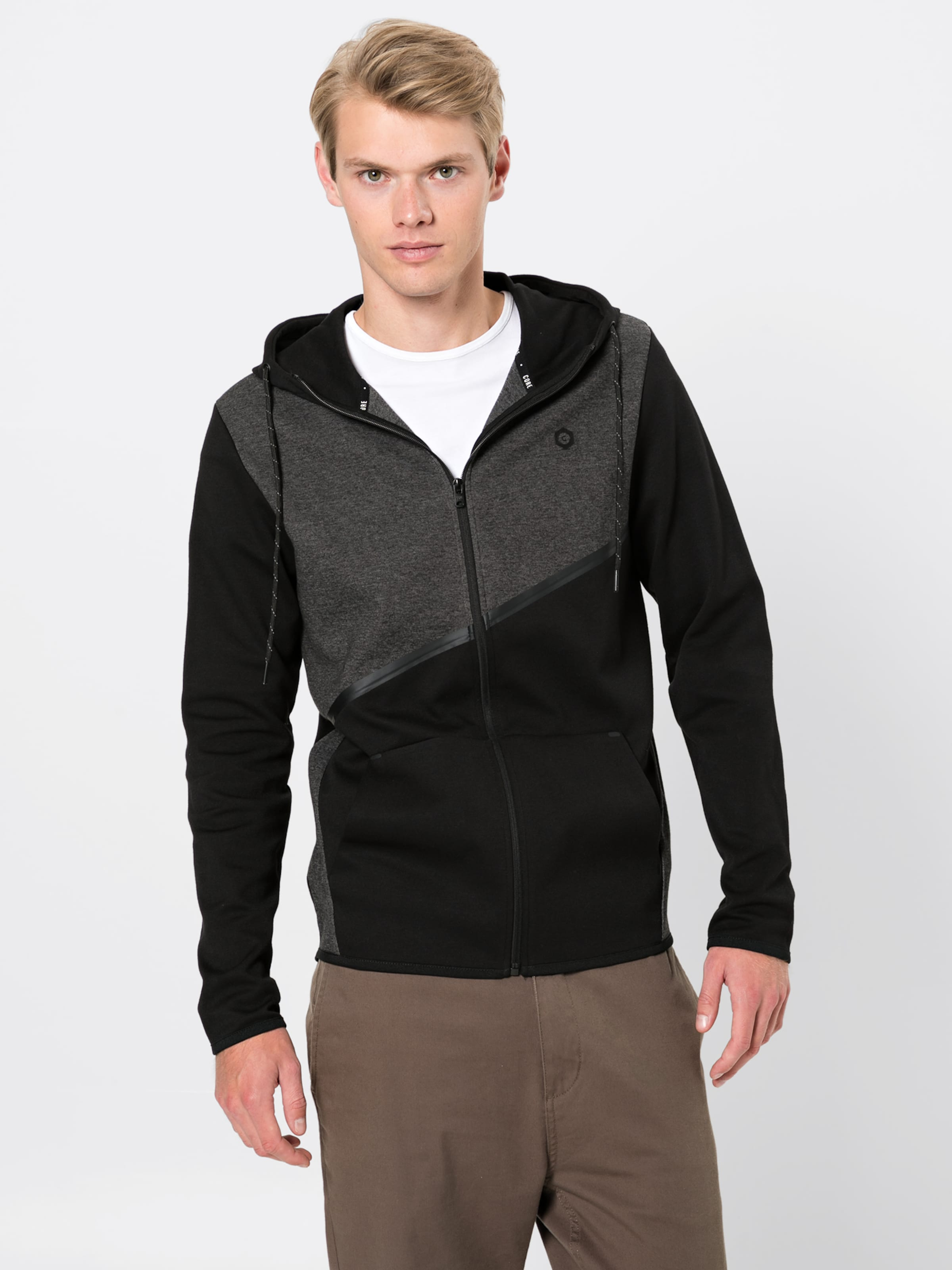Jones 'jcocarlo FoncéNoir En Noos' Jackamp; De Zip Sweat Veste Gris Survêtement Hood EHYD92WI