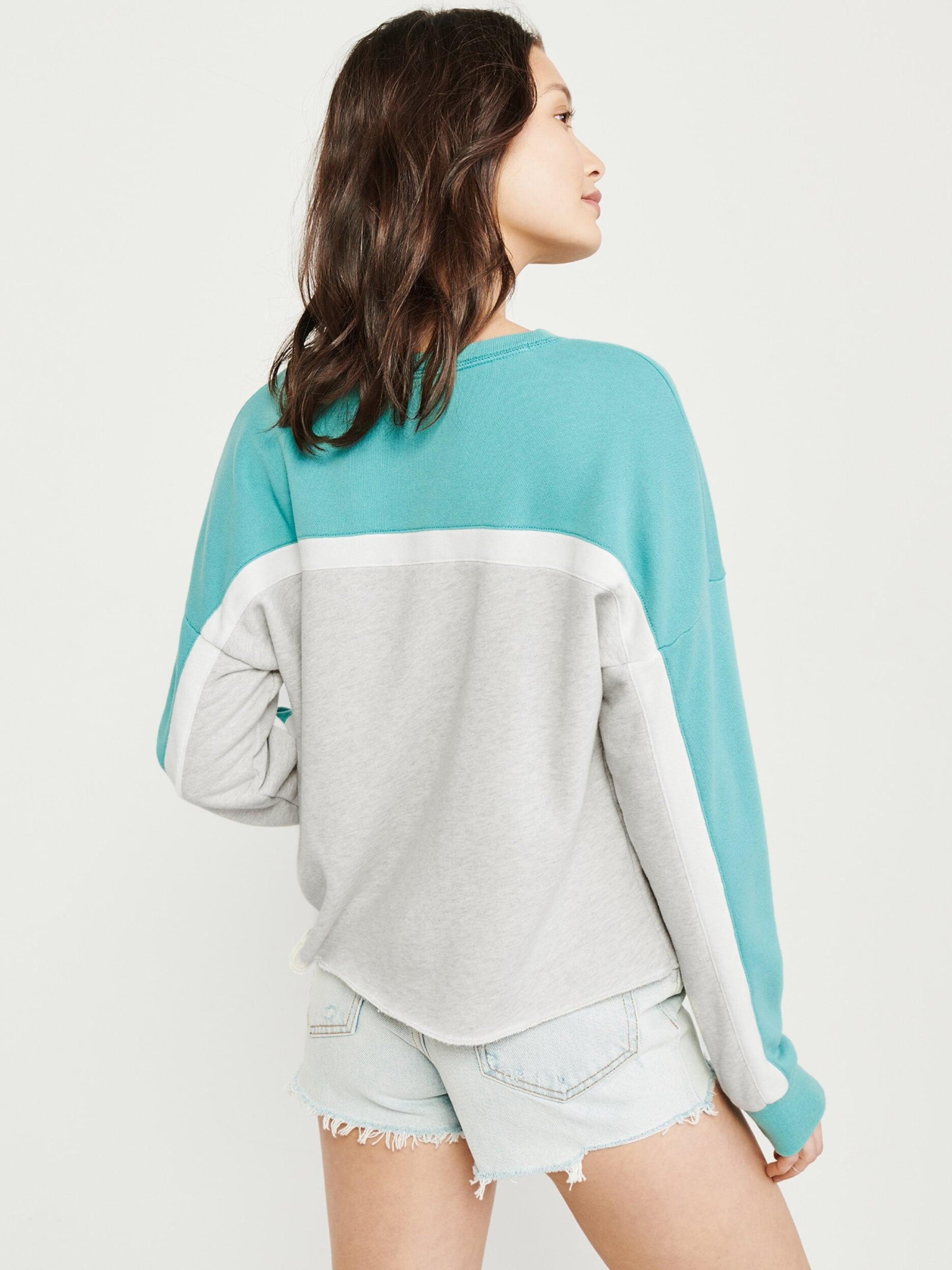 shirt Sweat En Crew' Abercrombieamp; 'seasonal TurquoiseGris Blanc Fitch 3F15ulKJcT