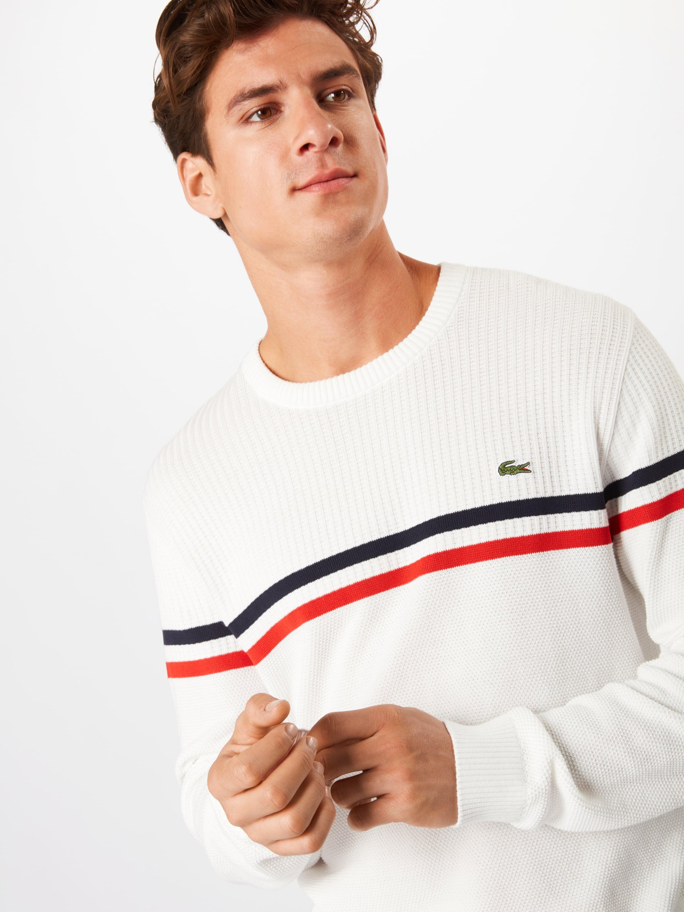 Pull 'tricot' En Lacoste Blanc BleuRouge over nmN80w