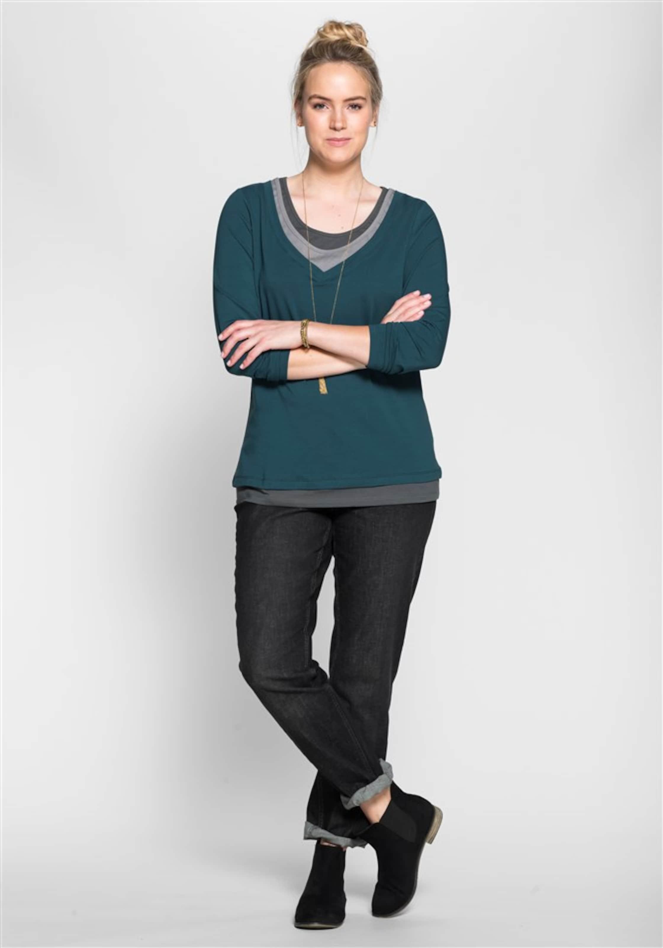Casual Sheego Shirt In Dunkelgrau PastellblauGrau fv7yb6Yg