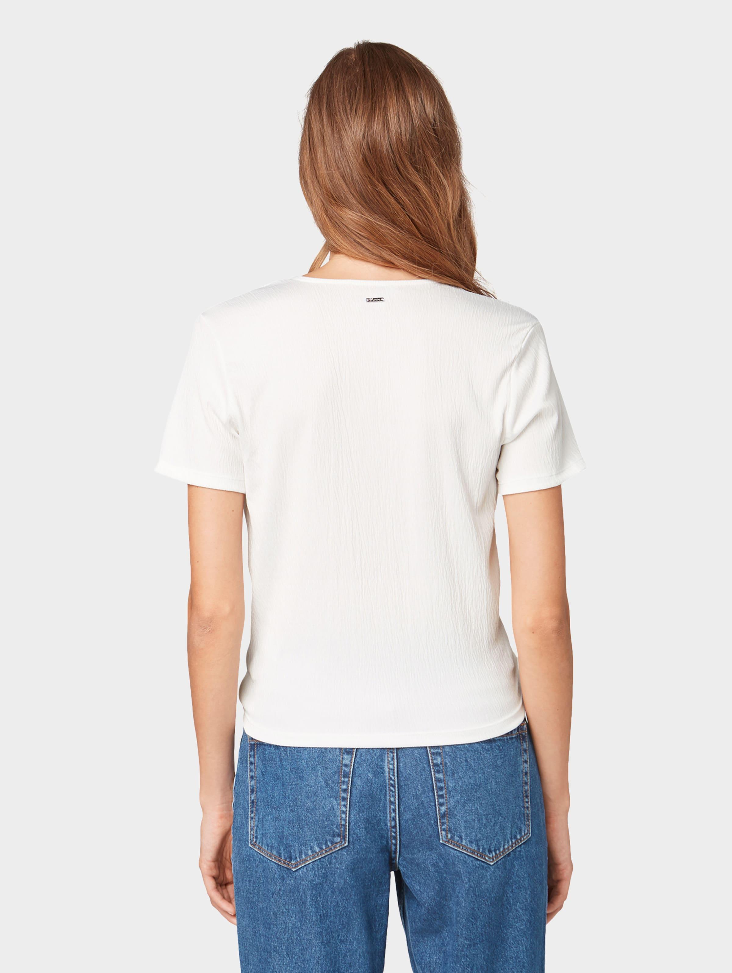 Tailor Denim Tom shirt Cassé T En Blanc On0Xw8Pk