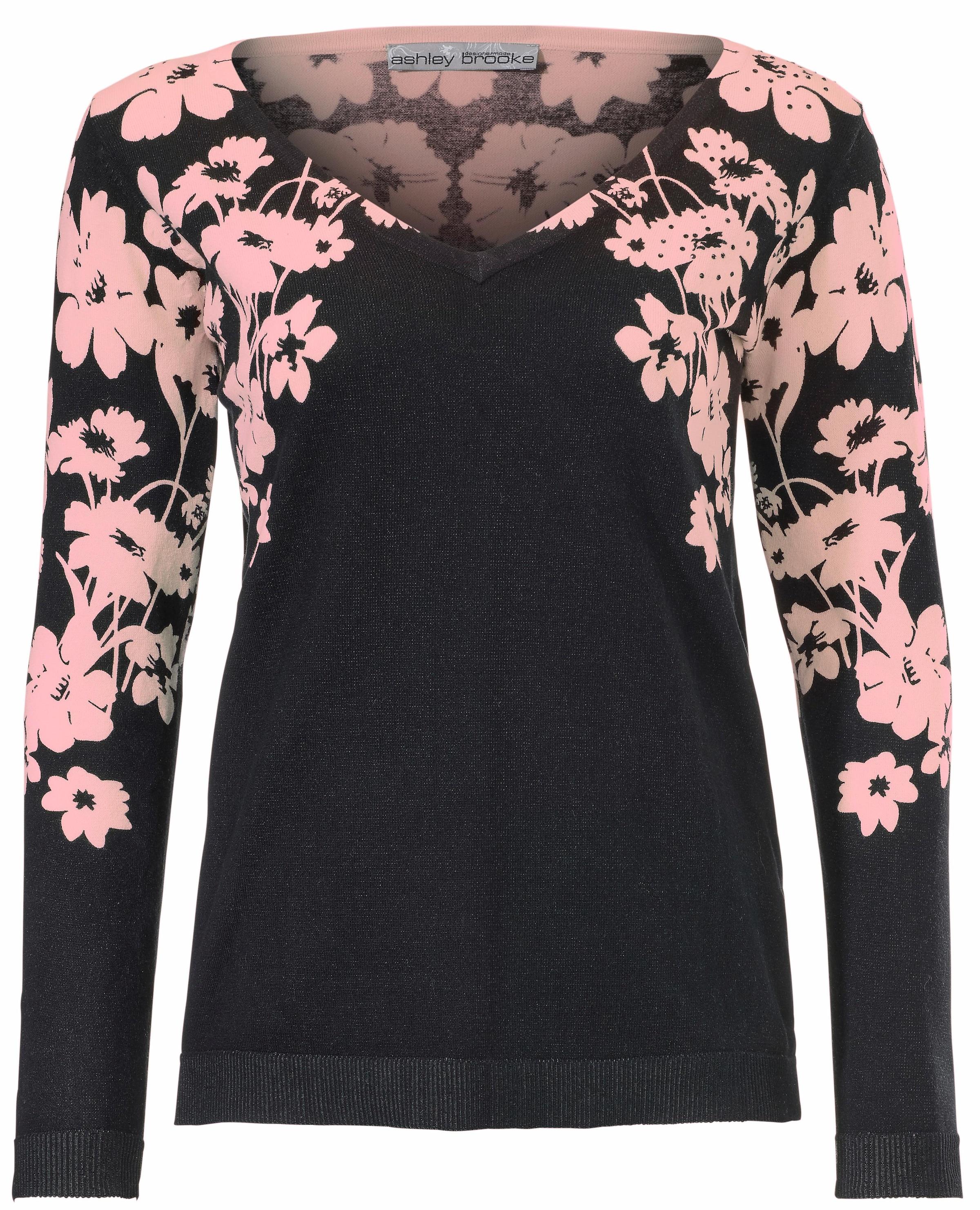 Blumendessin Heine RosaSchwarz V Mit In pullover Yfv7gy6b