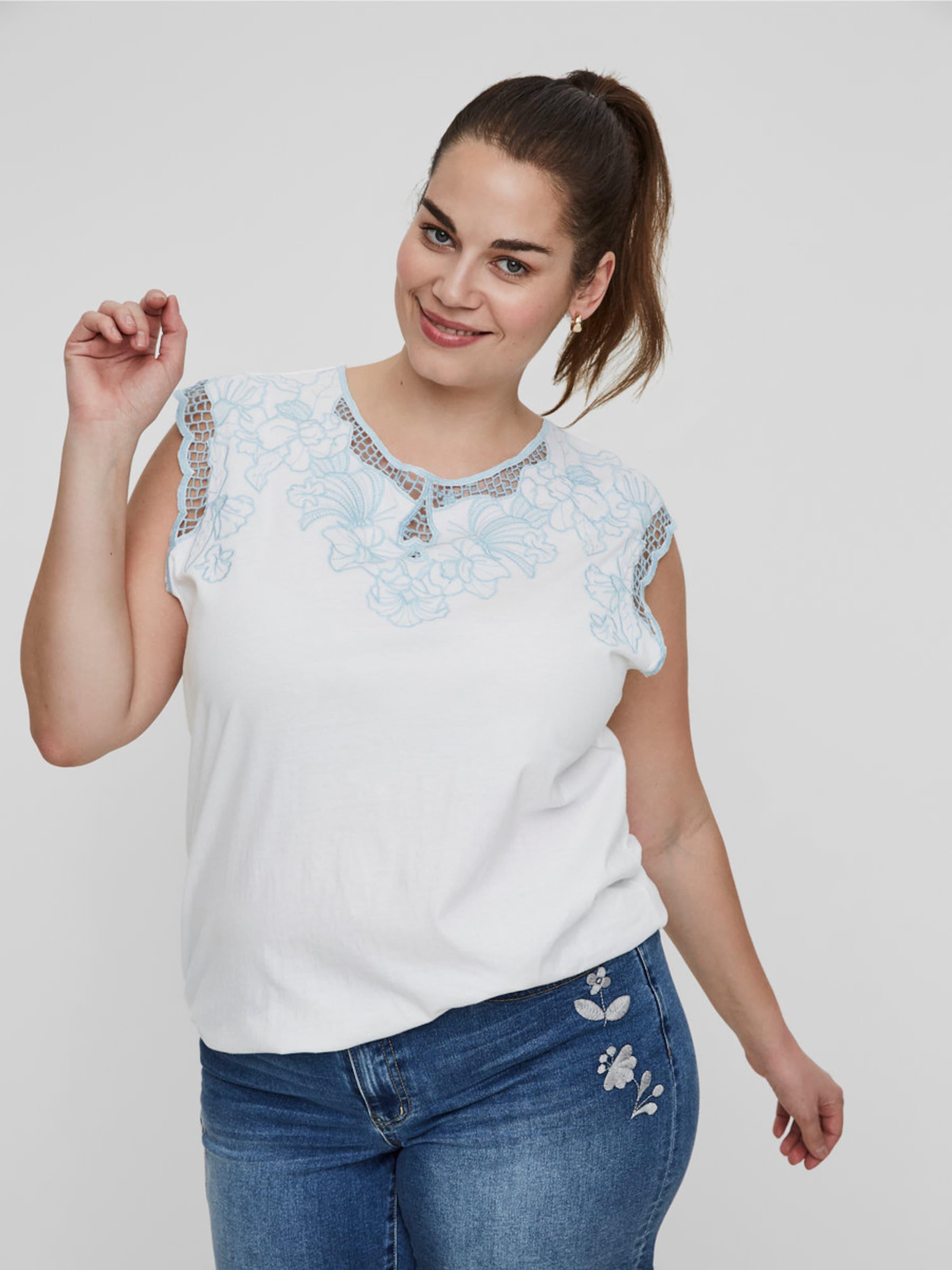 Spitzen T details Weiß shirt Mit In Junarose wkXPTOZui
