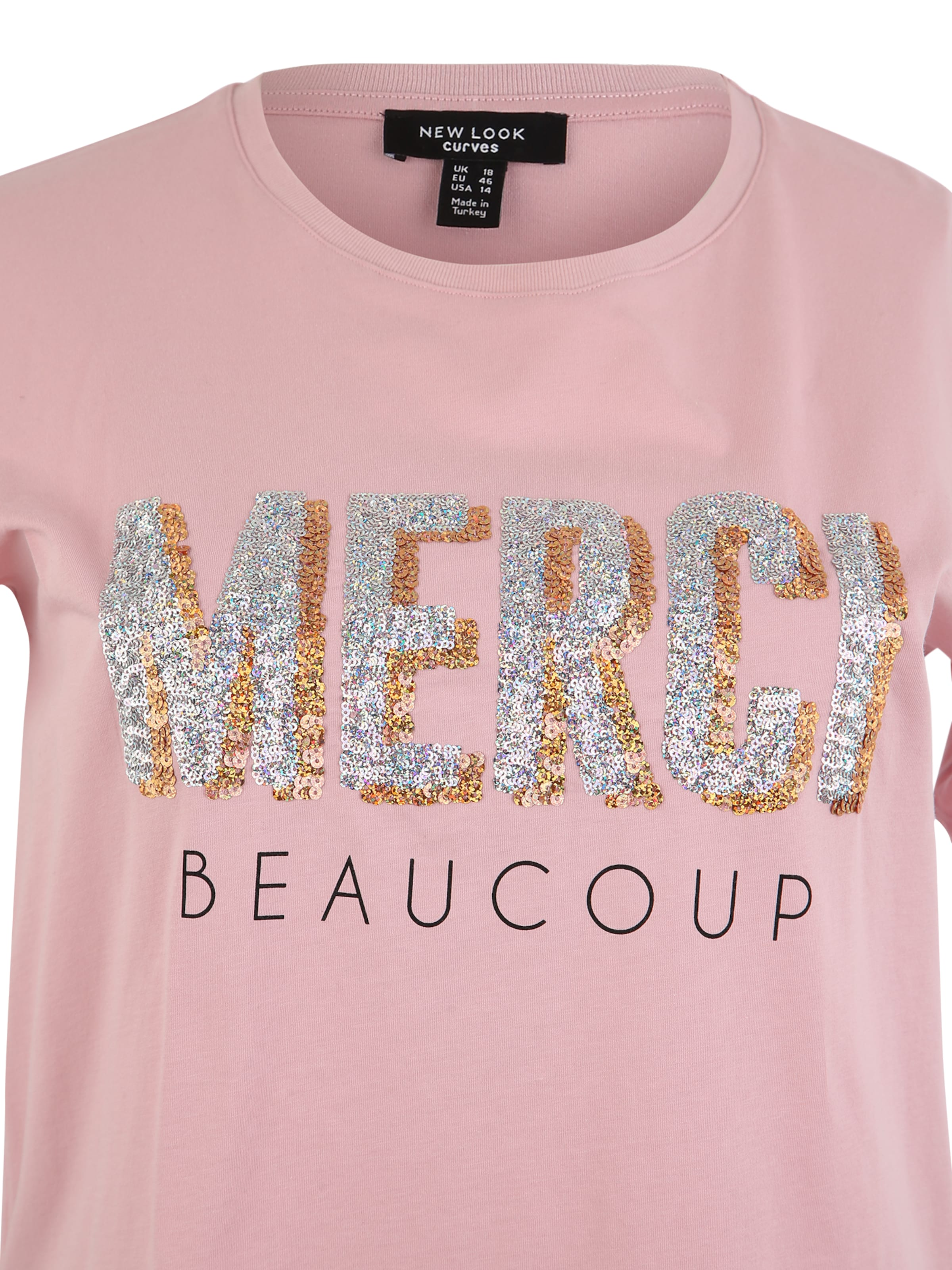 Beacoup En NudeBleu 'x Merci Look New Sequin' Curves T shirt Rose FcuK1JlT3