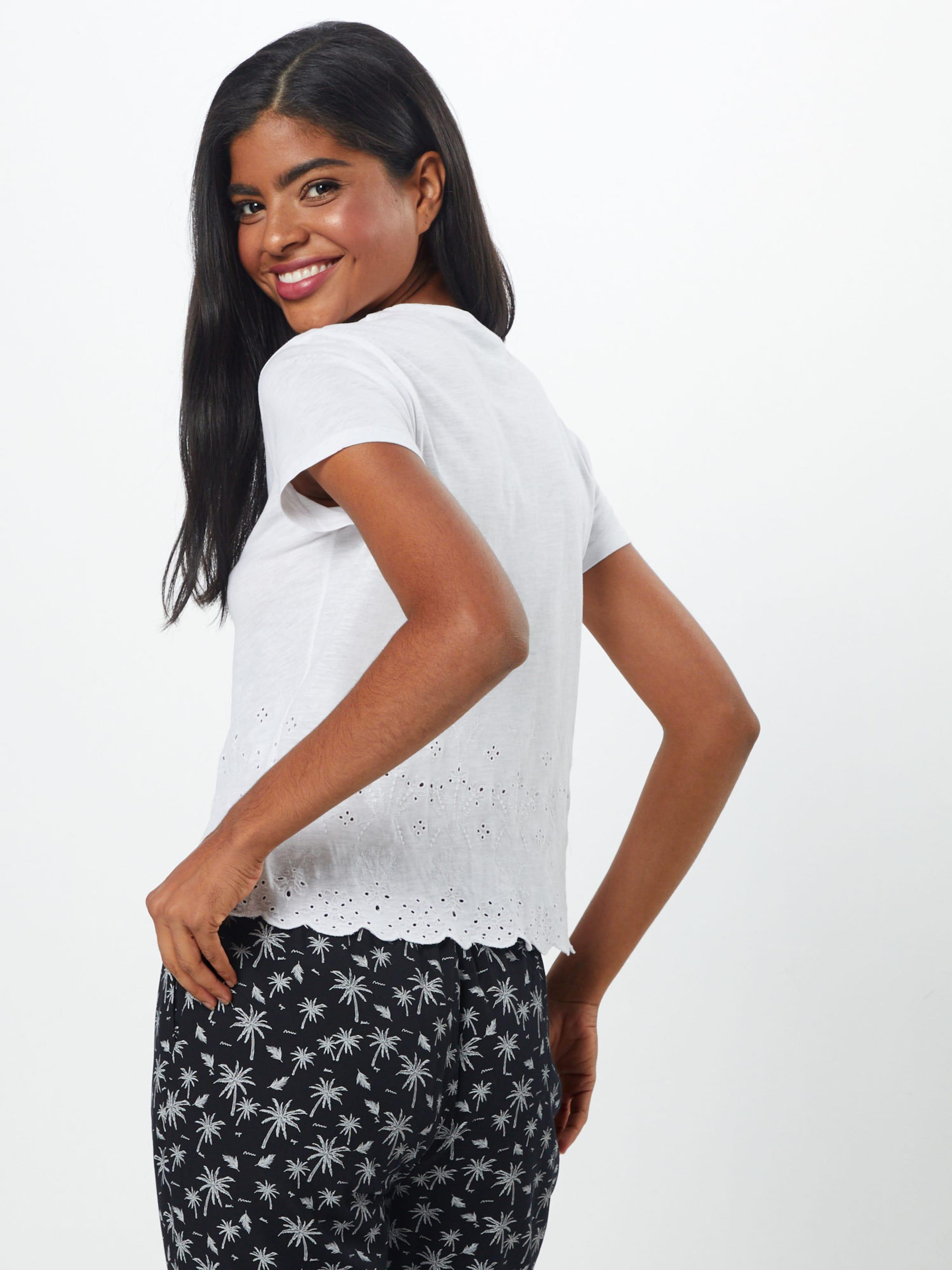 shirt Tee' En Blanc 'broderie New T Look k0wP8nO