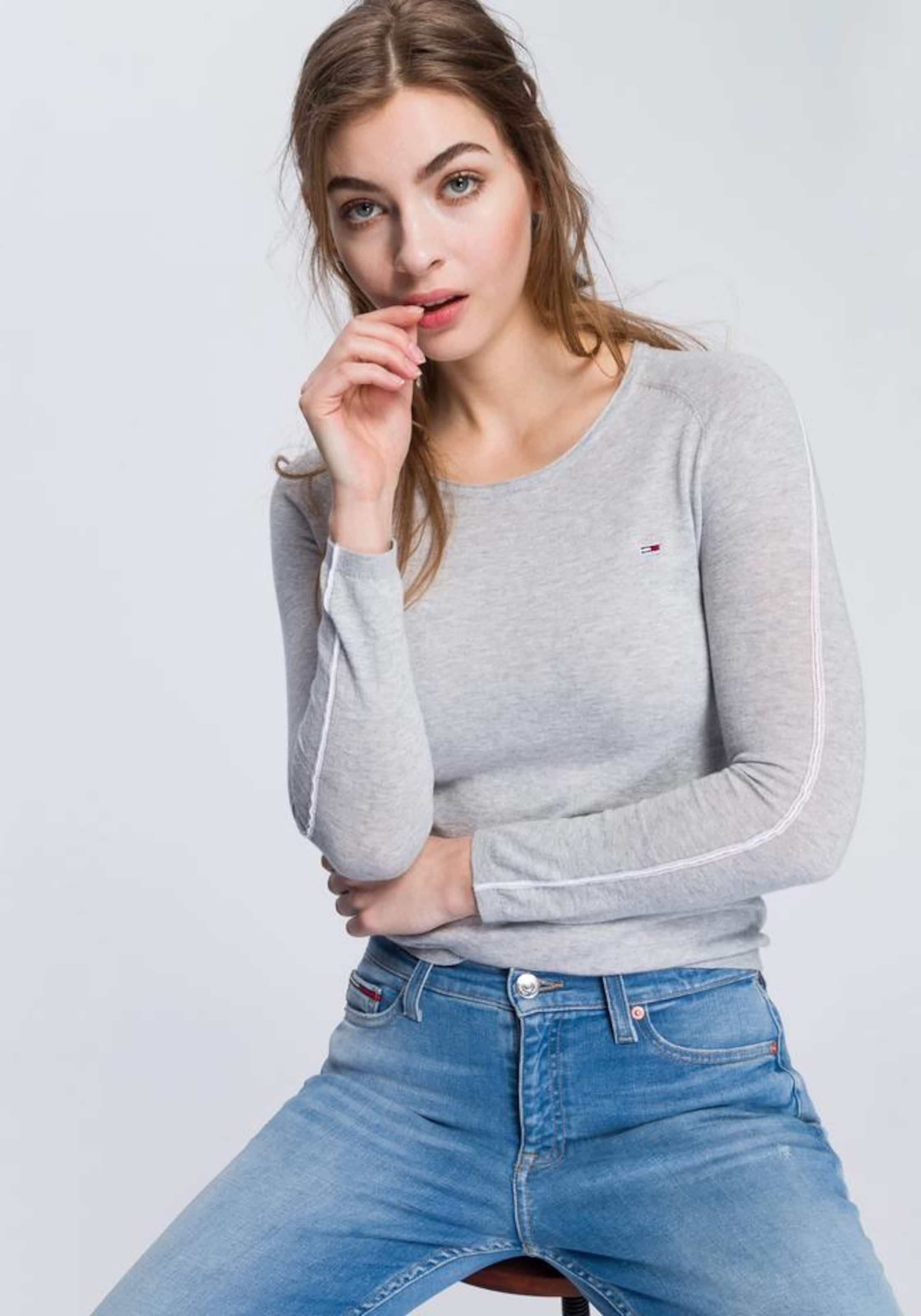 'contrast Jeans Pullover Grau Piping' Tommy In nvN80mwO