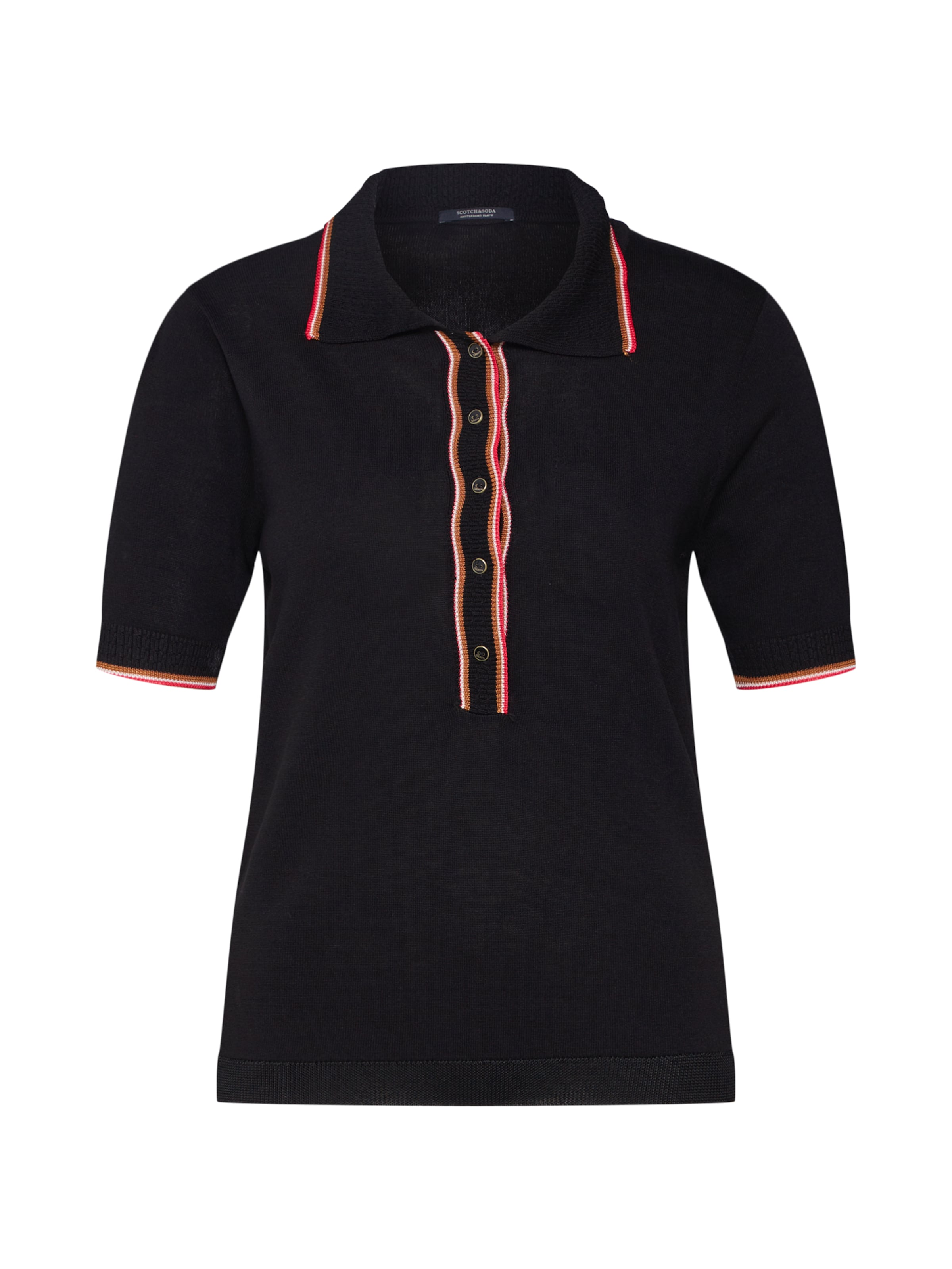 Polo With Sporty T shirt Ribs' CaramelRose En 'drapy Scotchamp; Soda Noir Knitted v0yNmnwP8O