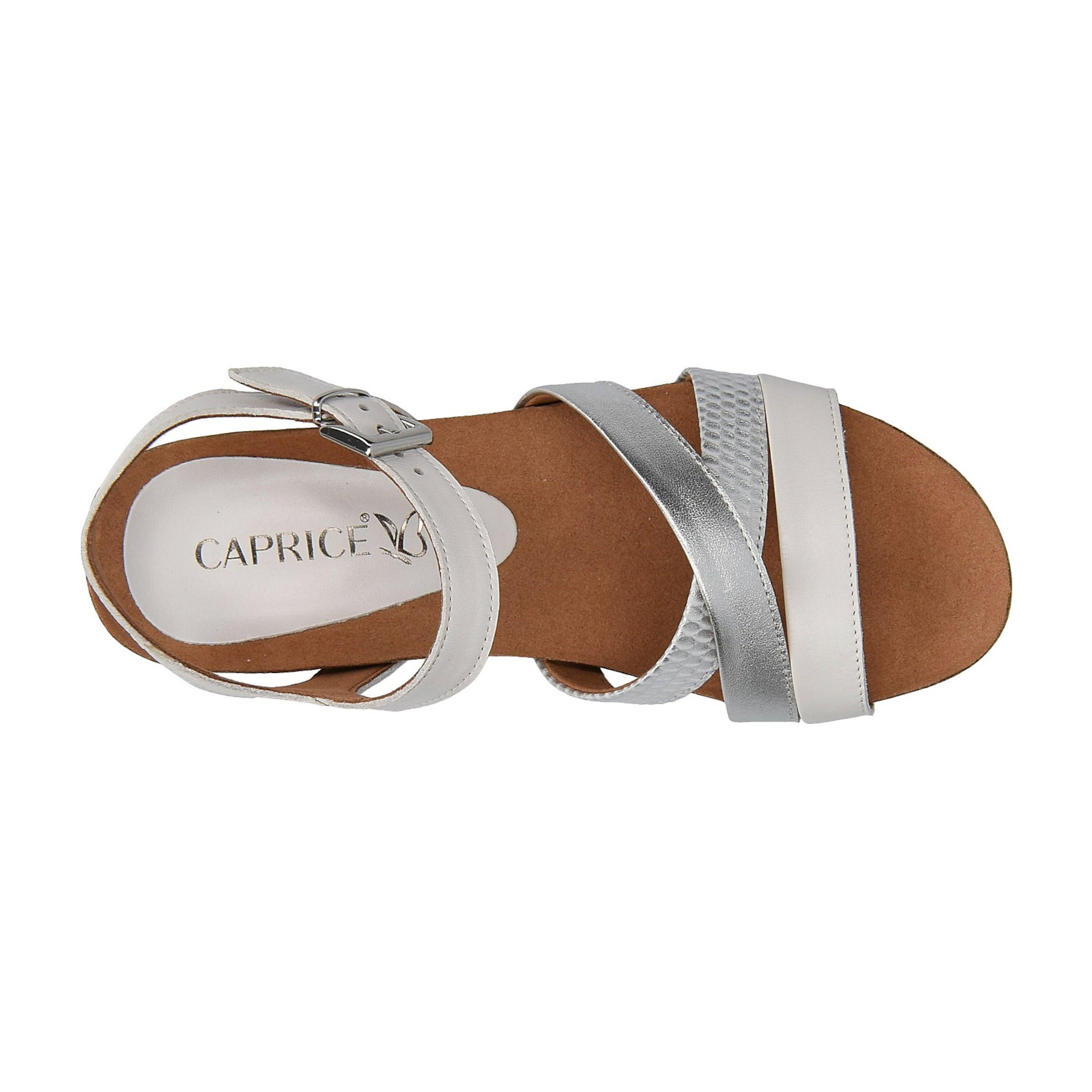 Sandales À MarronArgent Caprice Blanc Lanières En bf7IYvg6y