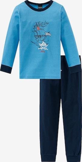 SCHIESSER Schlafanzug in blau / nachtblau / weiß, Produktansicht